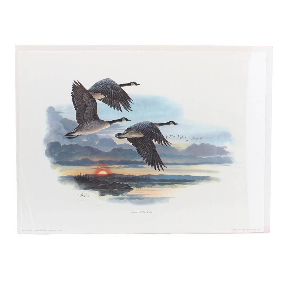 "Don Balke Offset Lithograph ""Sunset at the Lake"""