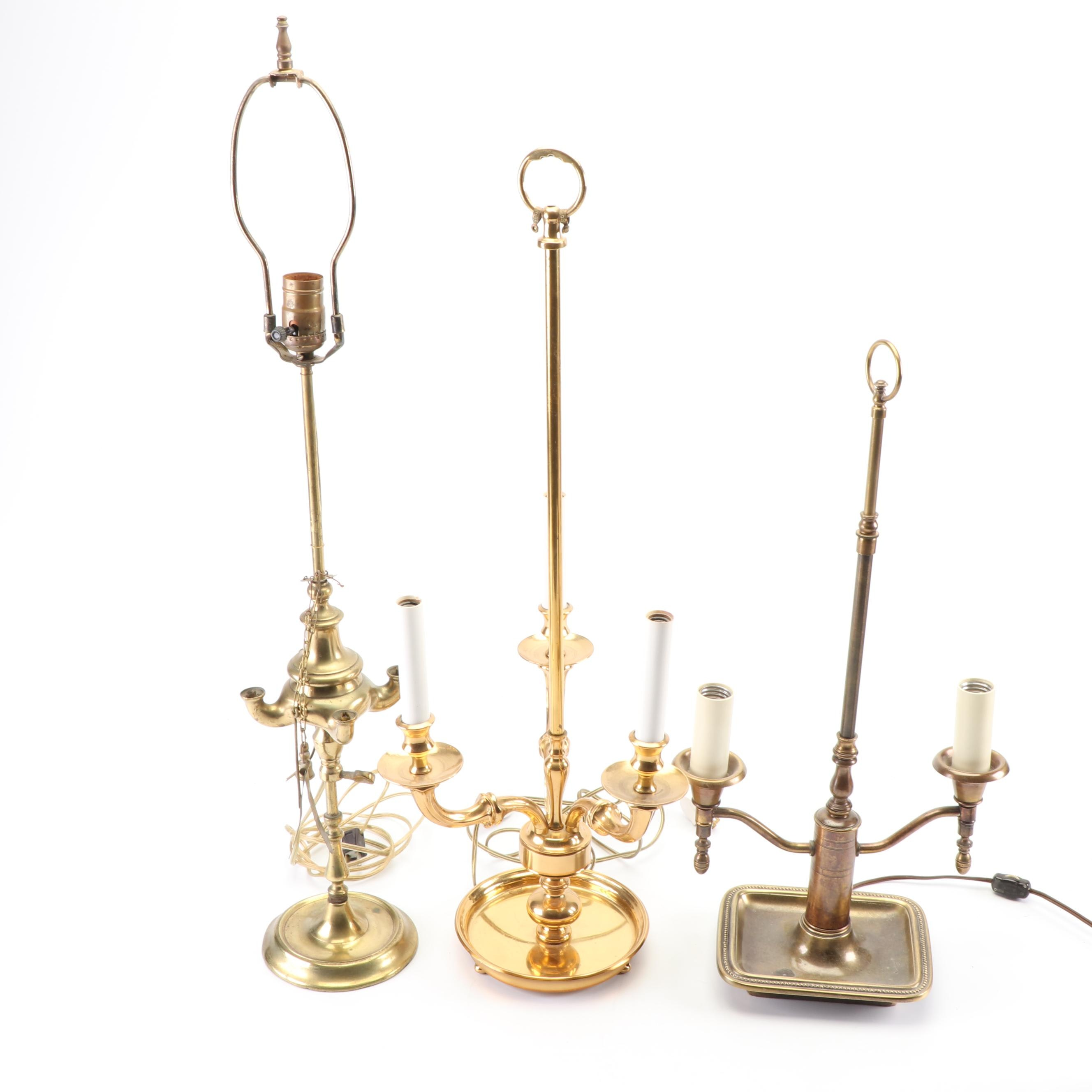 Brass Candelabra Table Lamps including Bouillotte Style