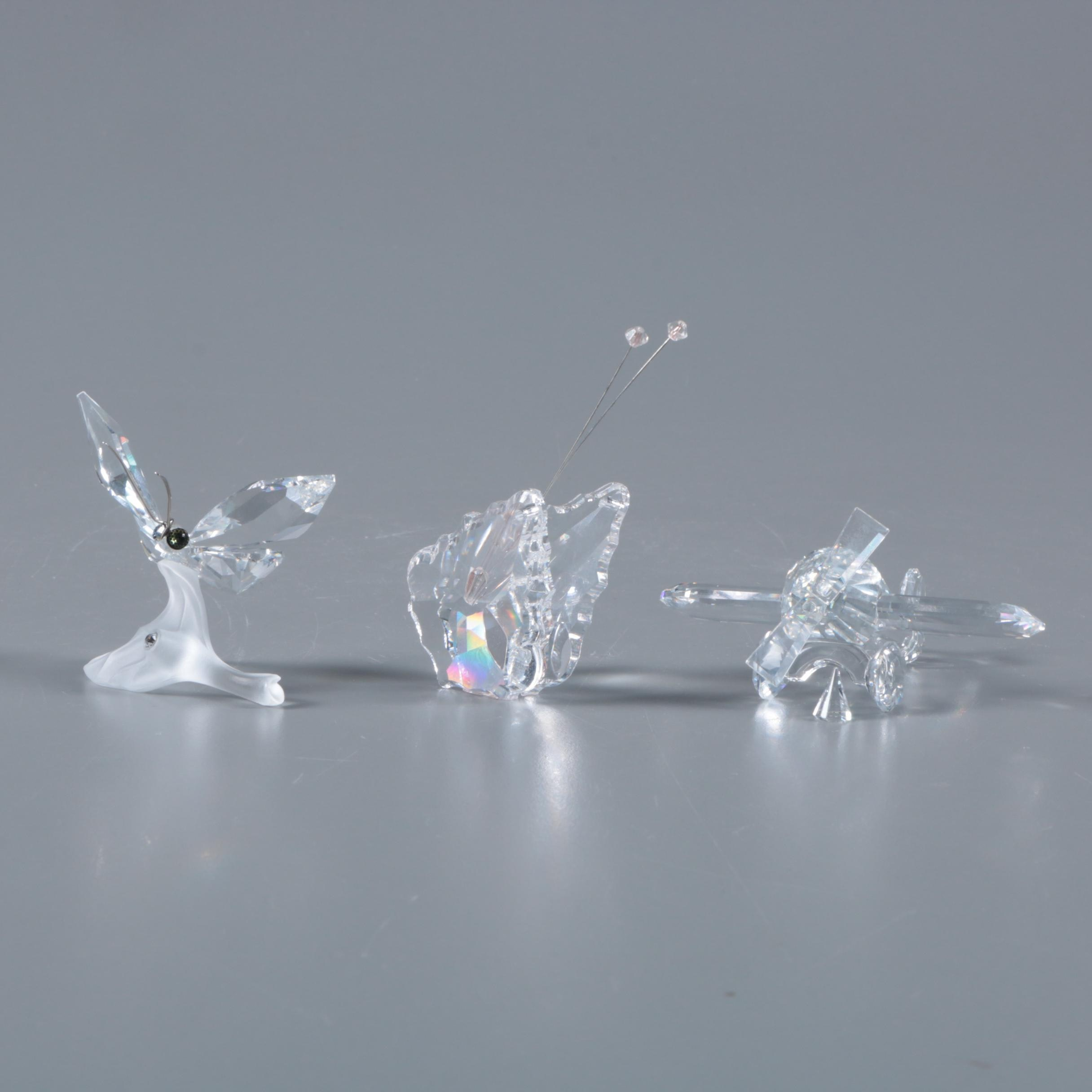 Crystal Airplane and Butterfly Figurines Including Swarovski