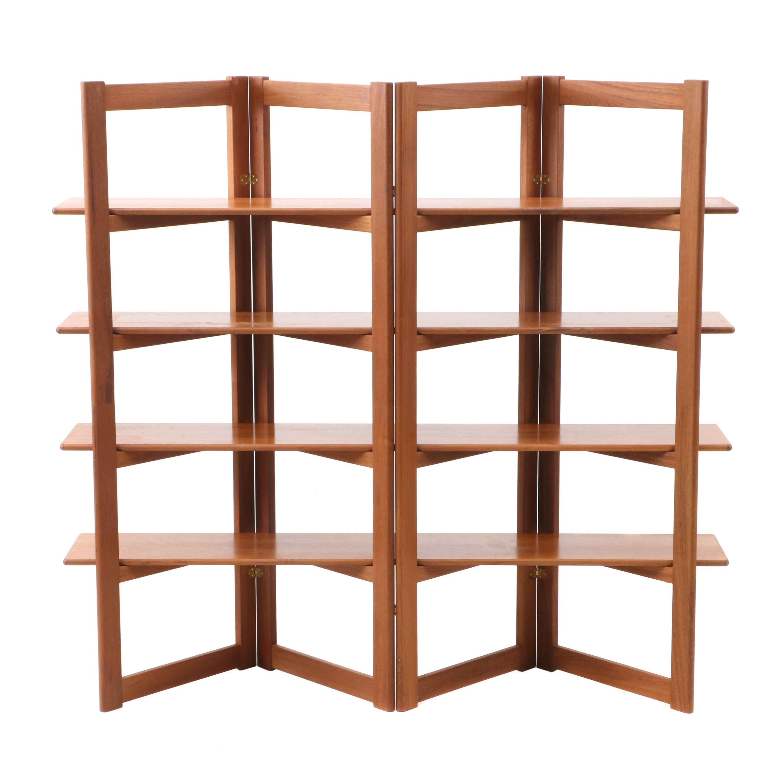 Contemporary Wood Folding Screen Bookshelf