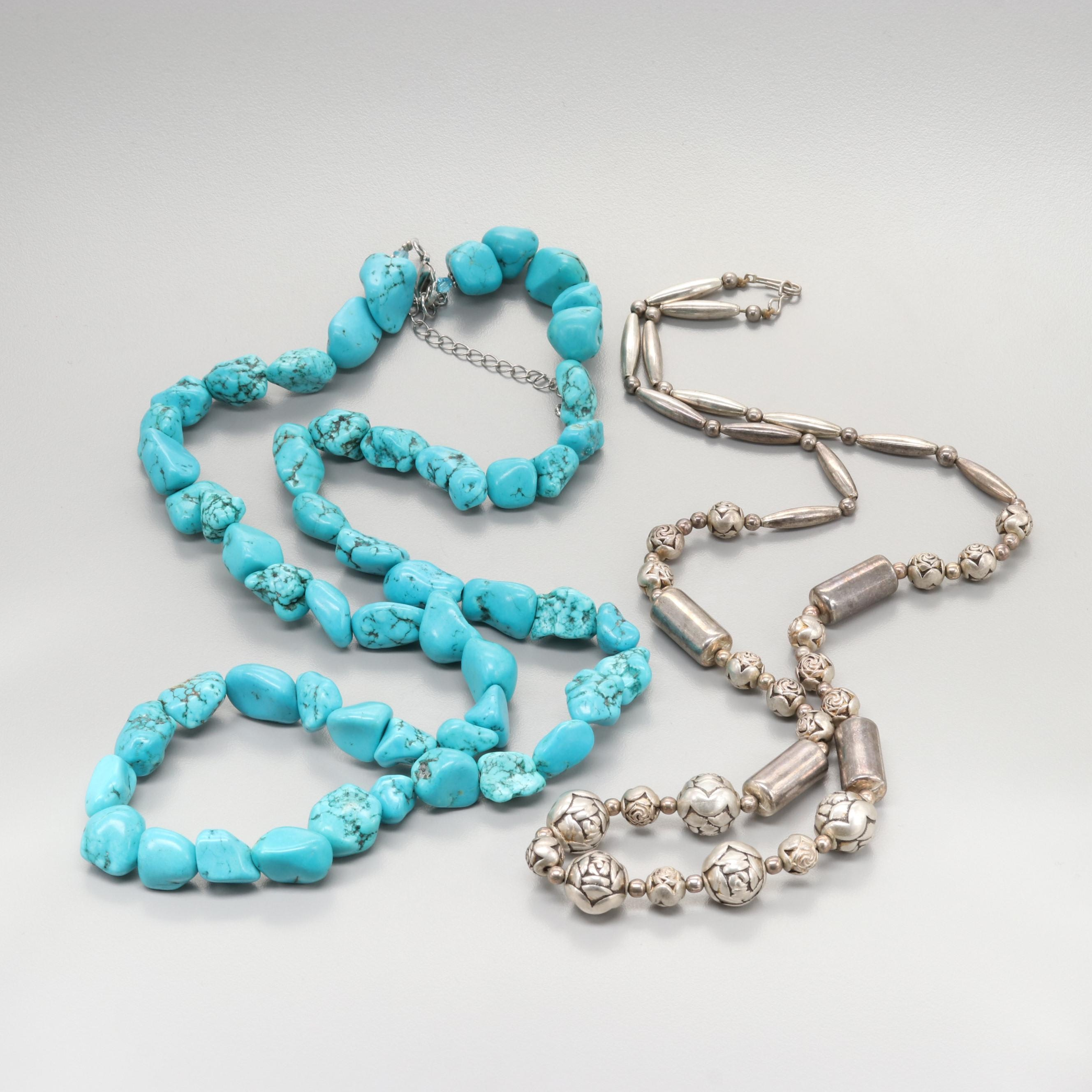 Magnesite Necklace and Silver Tone Beaded Necklace
