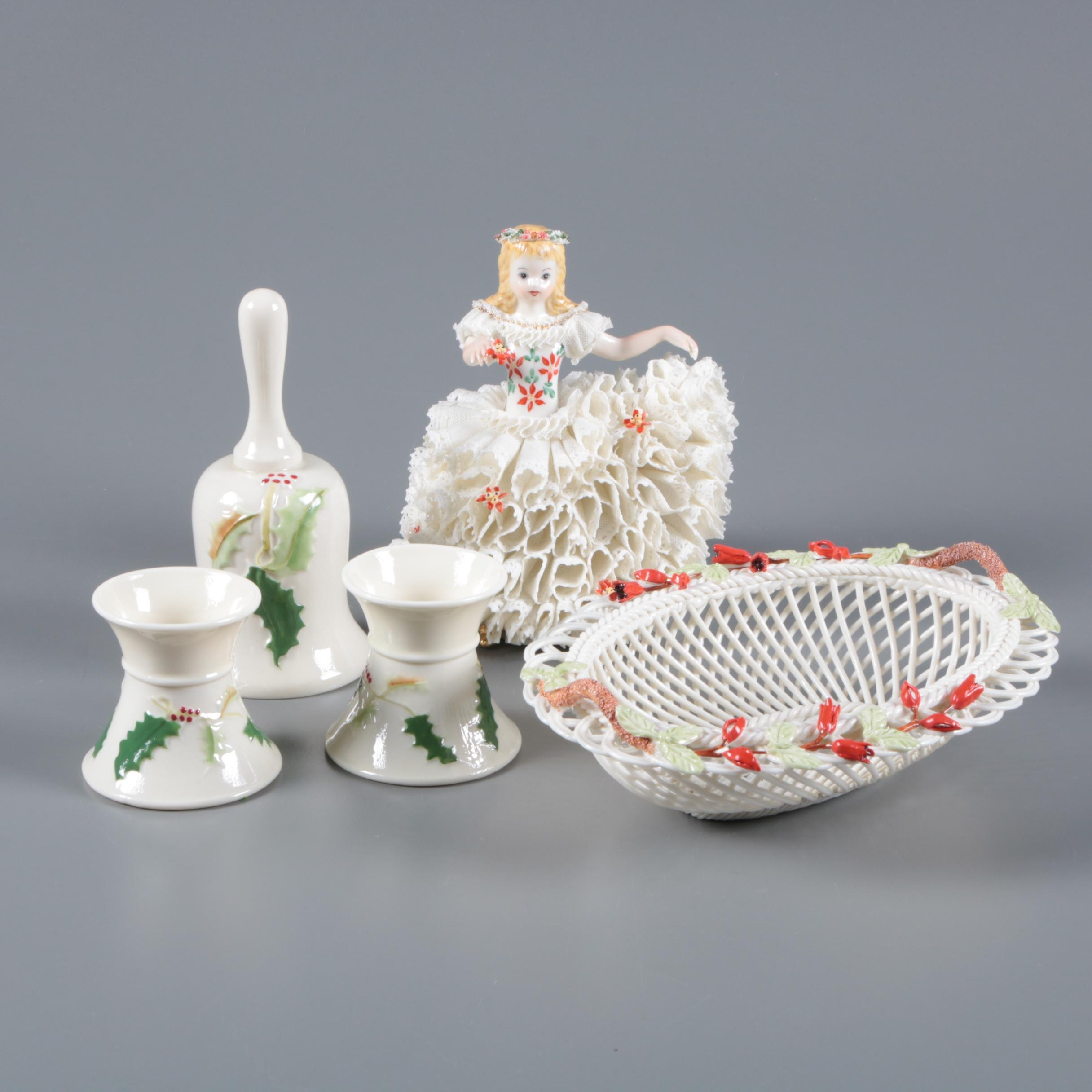 Belleek Porcelain Basket, Candleholders, and Bell with Dresden Lace Figurine