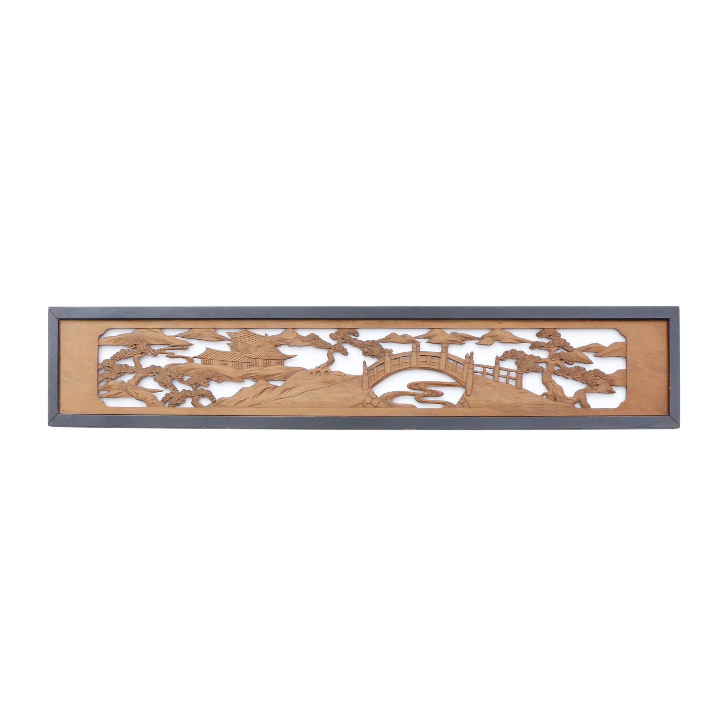 Japanese Open Carved Decorative Wooden Panel