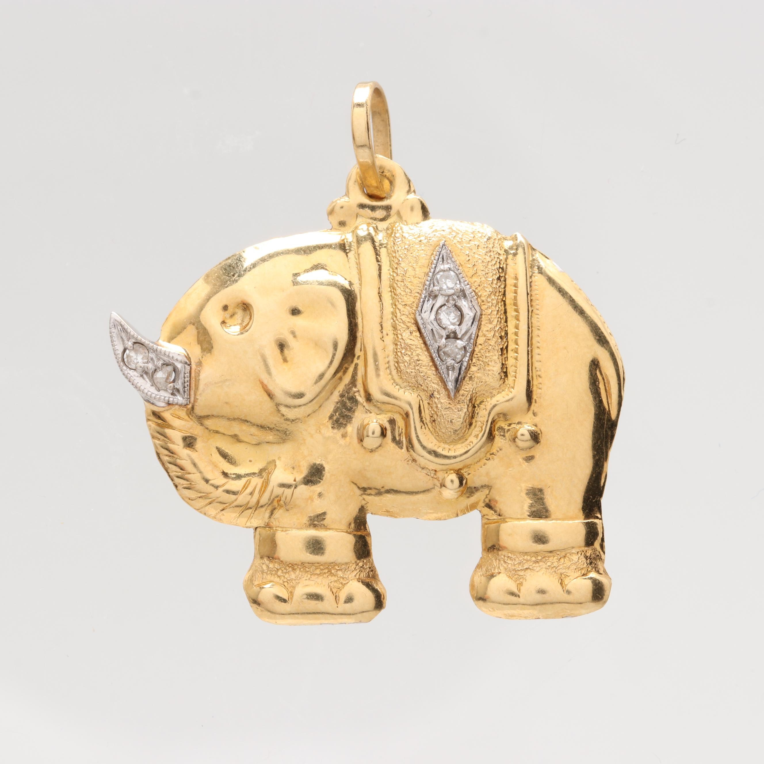 18K Yellow Gold Diamond Elephant Pendant with 14K White Gold Accents