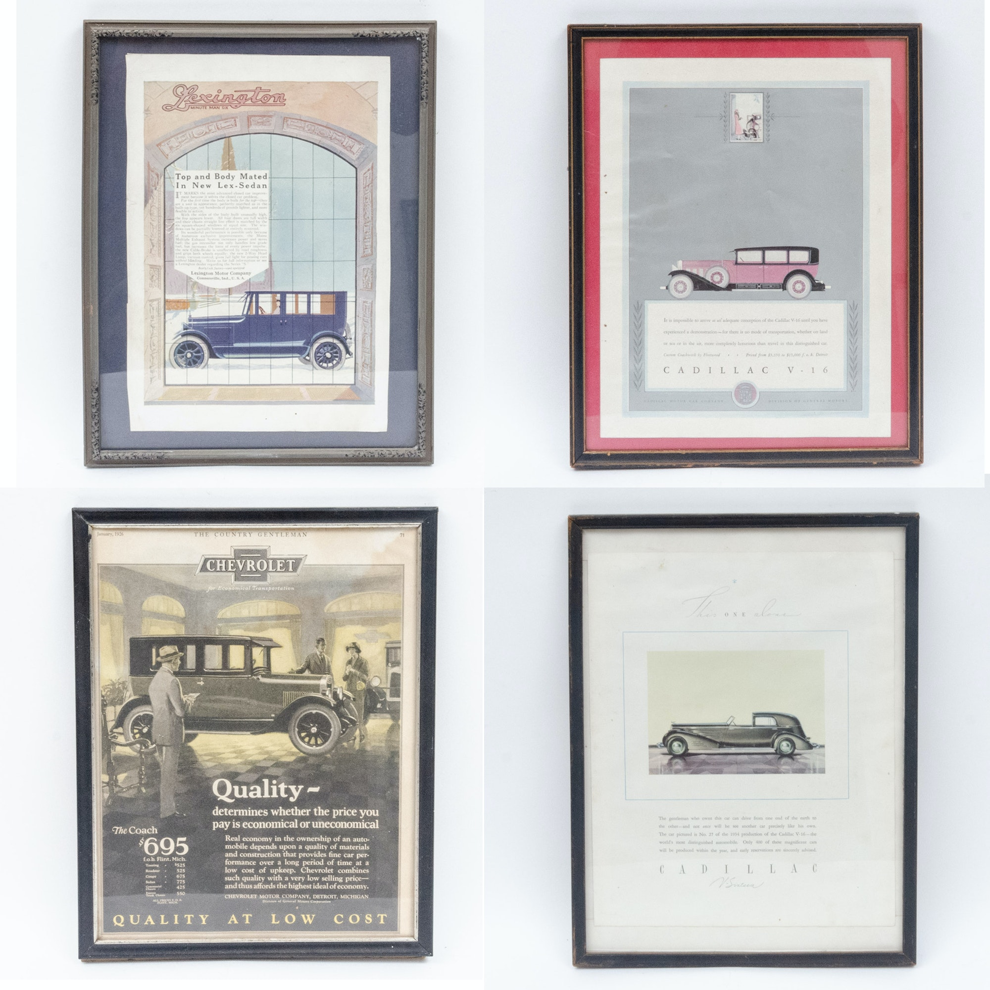 Framed Vehicle Advertisements for Cadillac, Chevrolet and Lexington Motor Co.