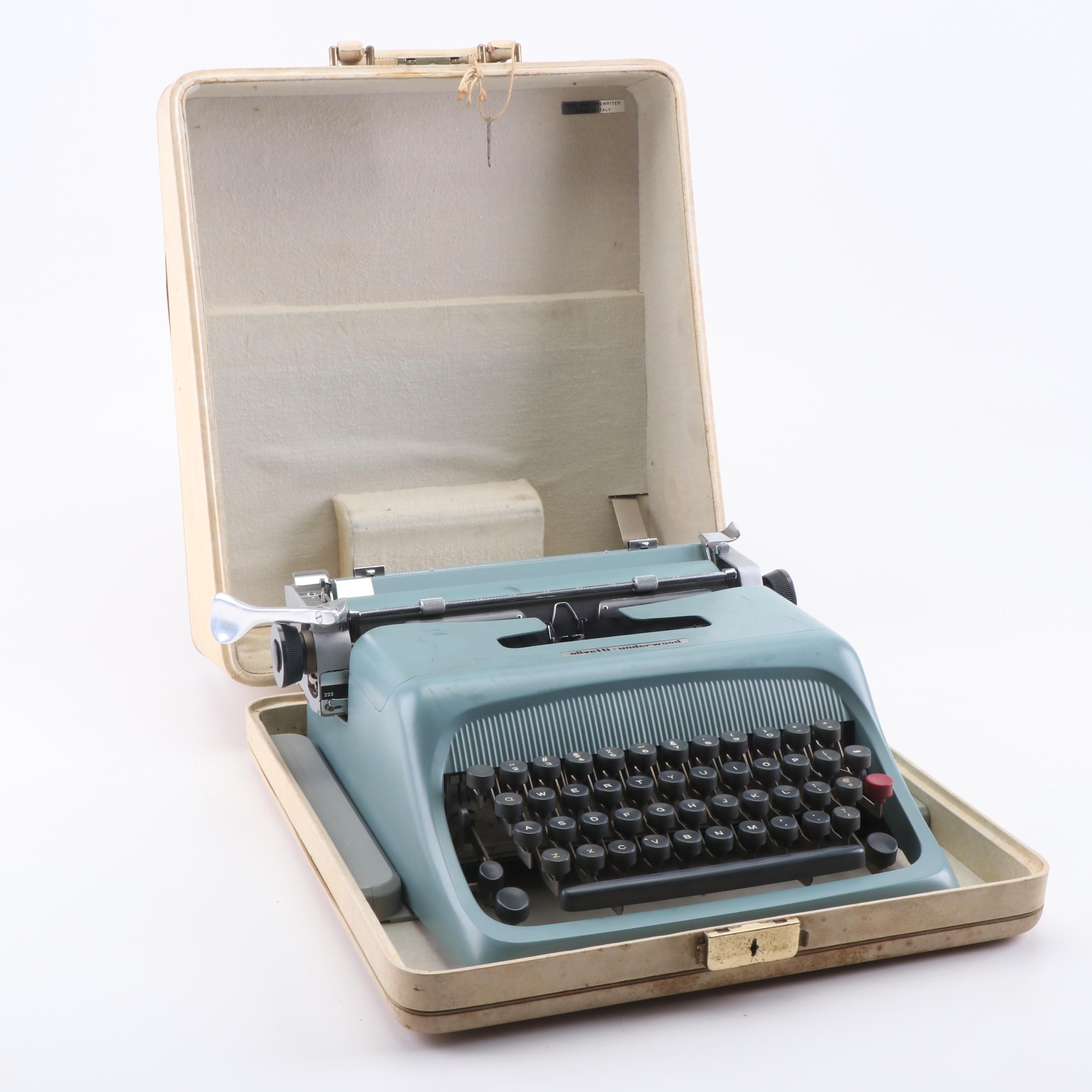Olivetti-Underwood Typewriter with Case, circa 1960