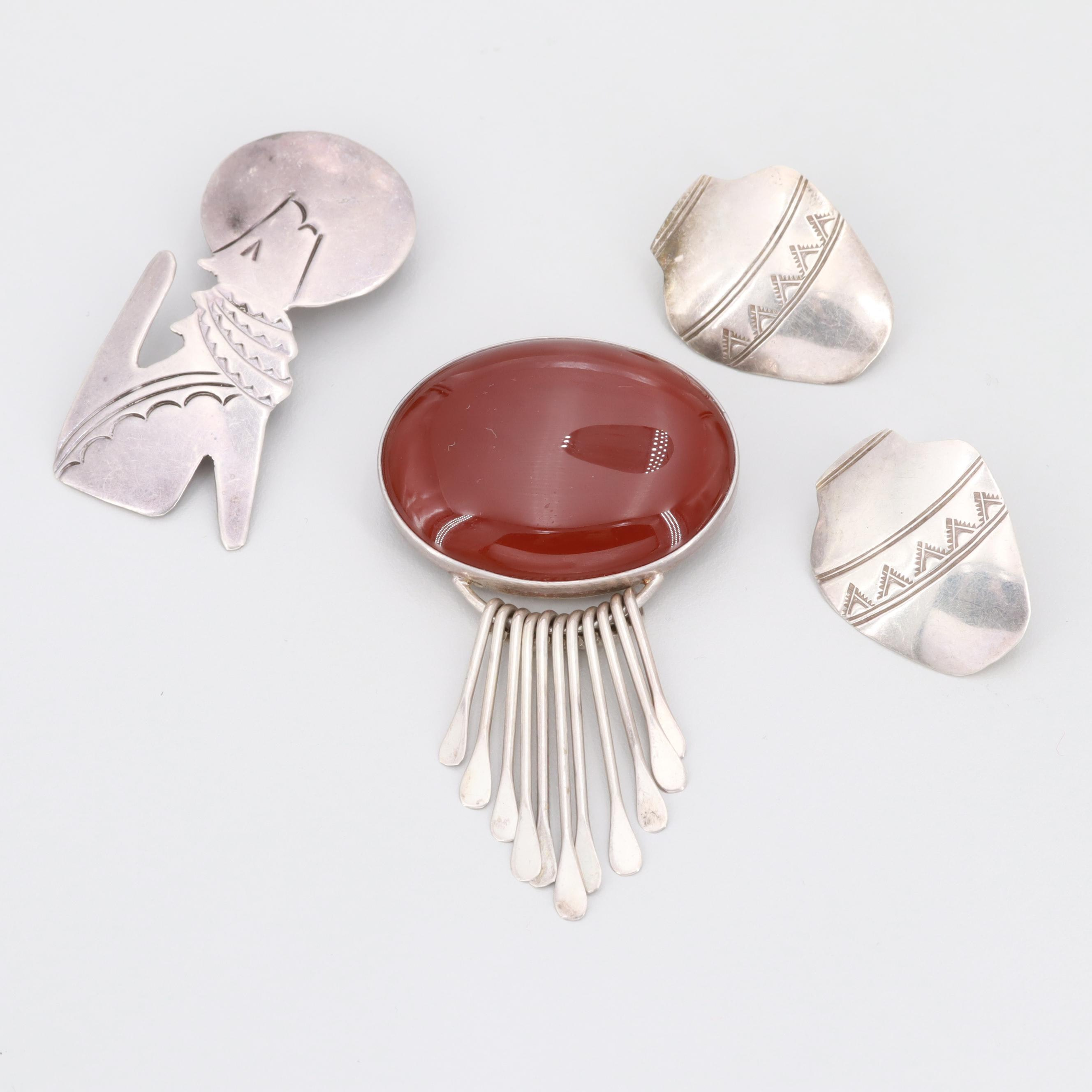 Sterling Carnelian and Coyote Converter Brooches and Pottery Motif Earrings