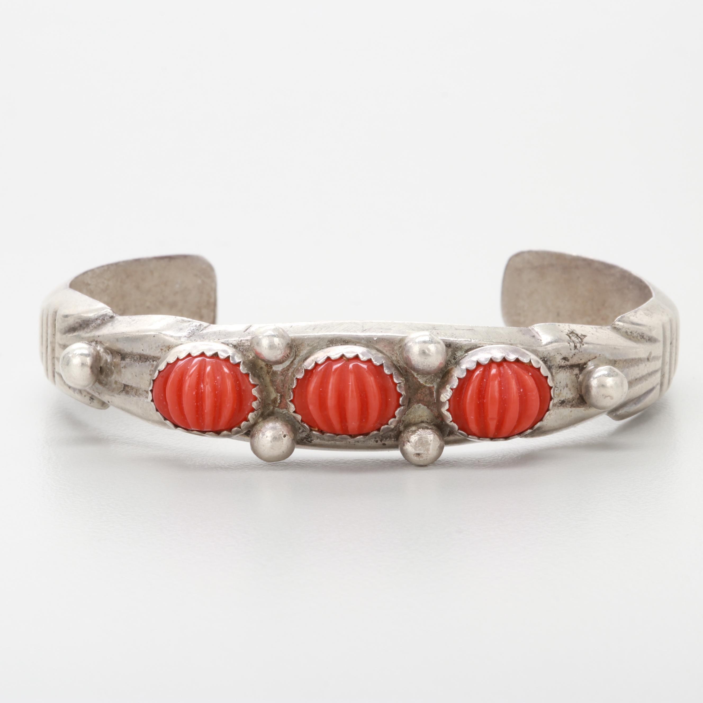 Southwestern Style Sterling Silver Carved Coral Cuff Bracelet