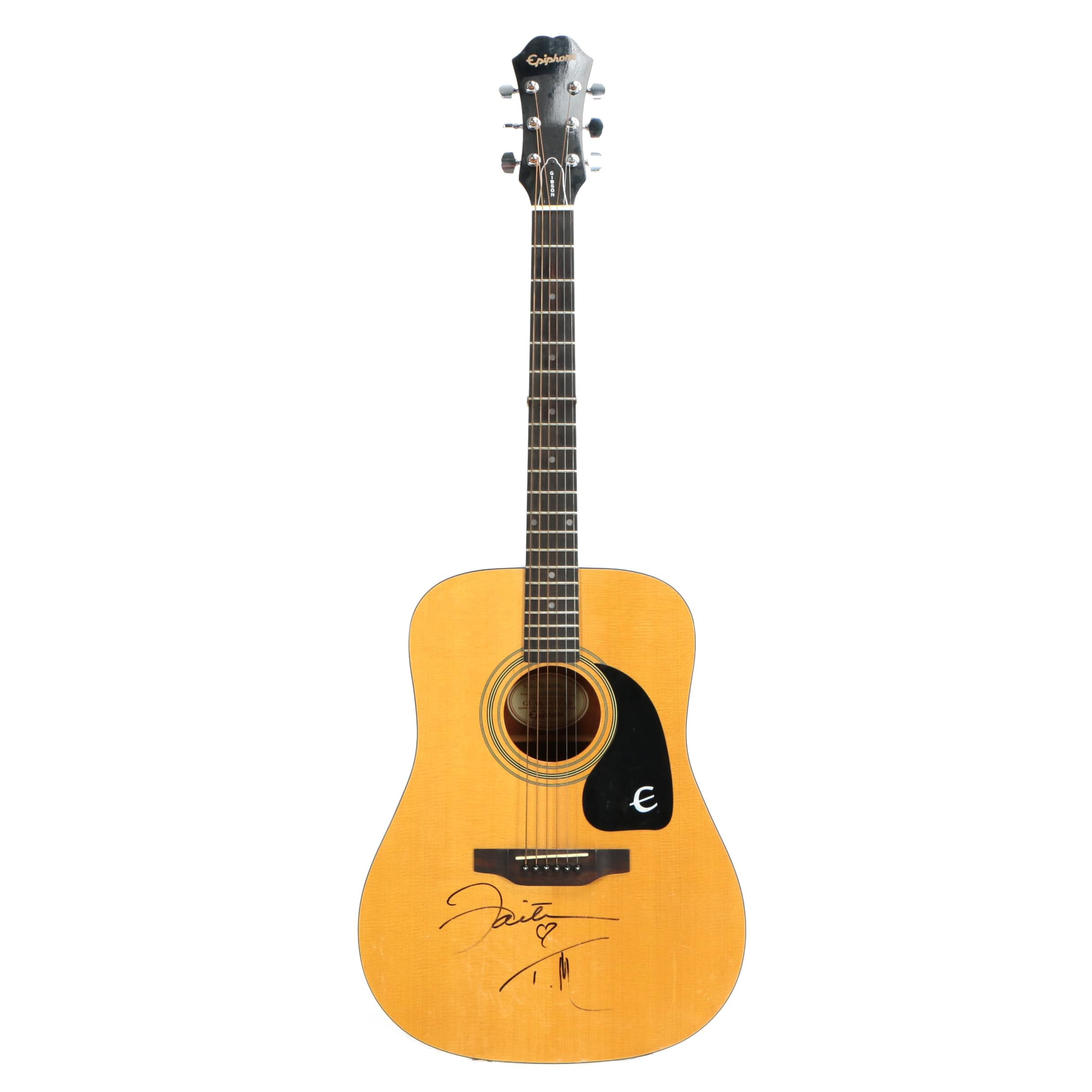 Faith Hill and Tim McGraw Autographed Epiphone PR-100NA Acoustic Guitar