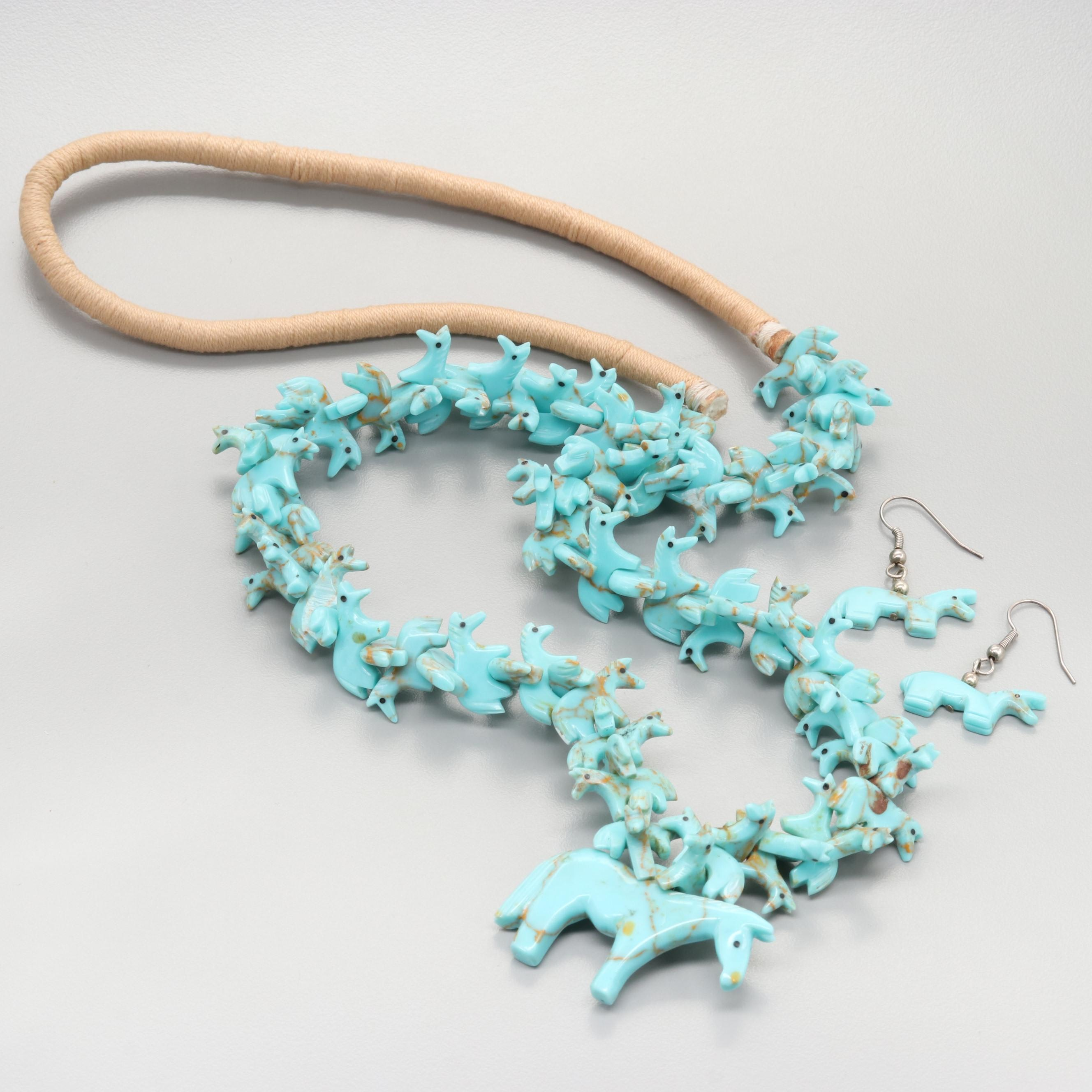 Southwestern Style Turquoise Horse Fetish Necklace and Earrings