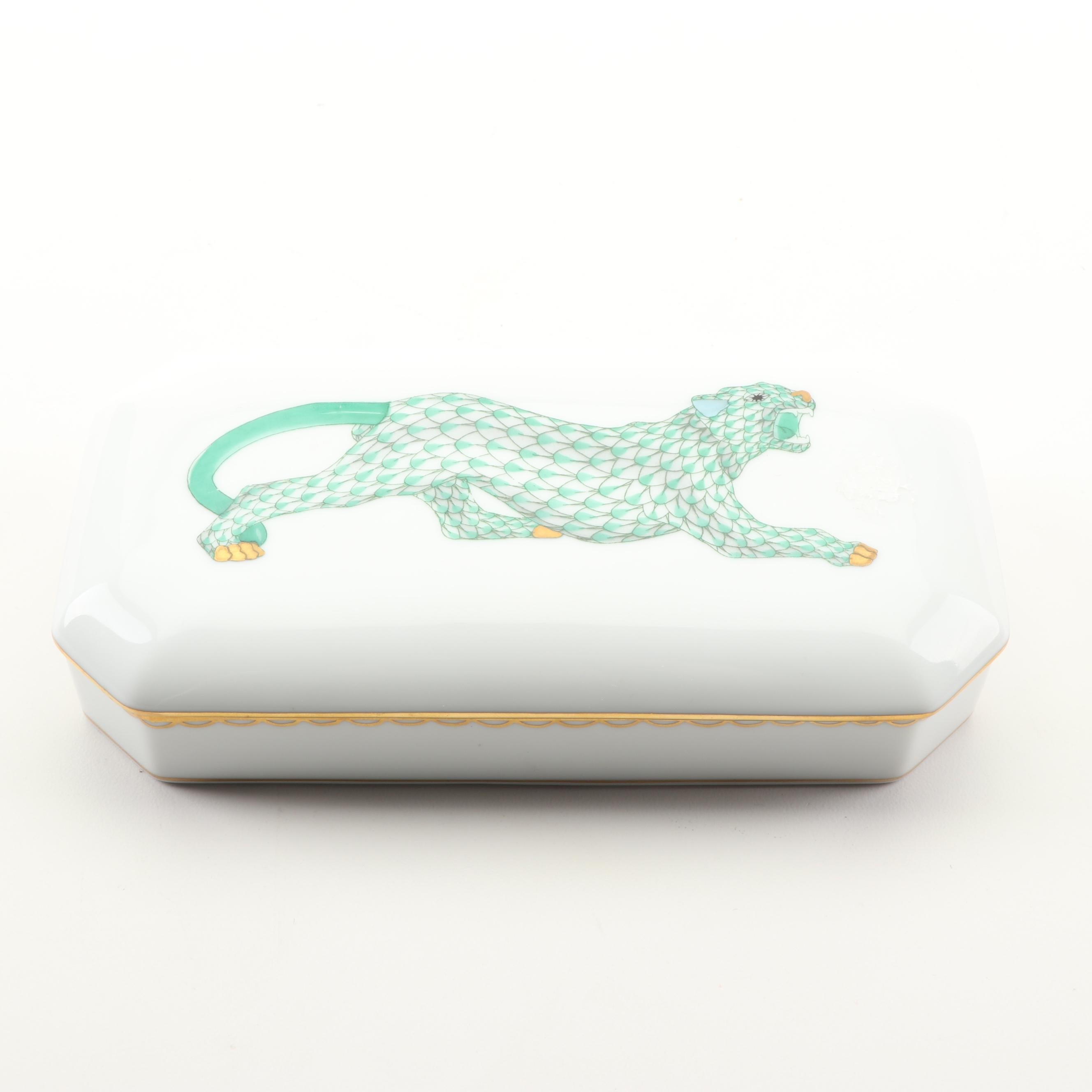 Herend Hungary First Edition Hand-Painted Porcelain Leopard Trinket Box