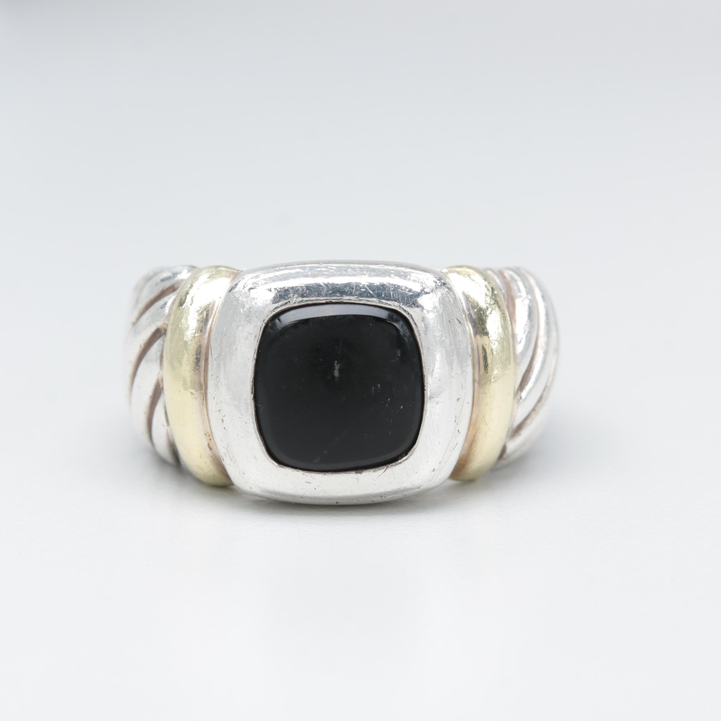 David Yurman Sterling Sliver Black Onyx Ring with 14K Yellow Gold Accents