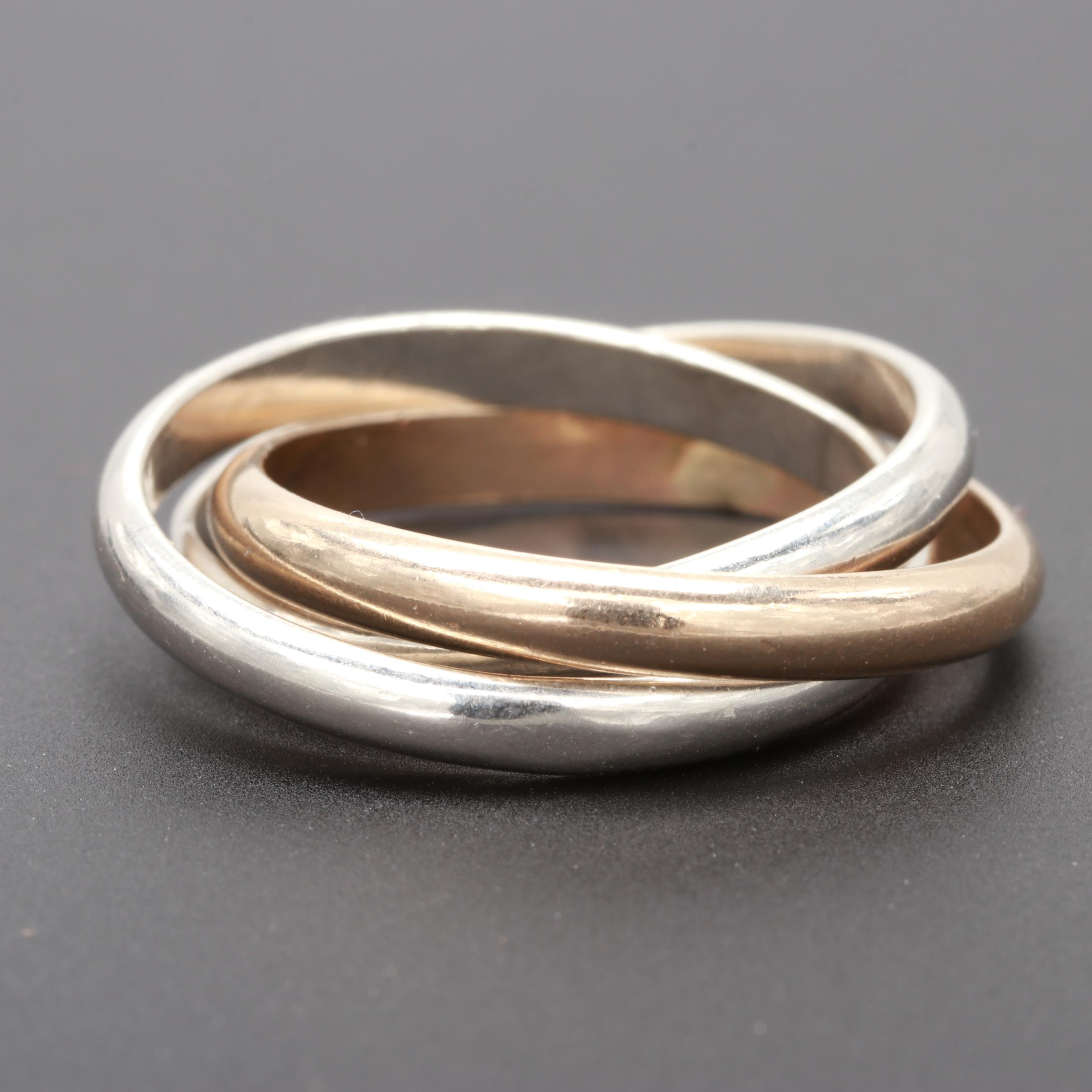 Trinity Style Sterling Sliver and 14K Yellow Gold Rolling Ring
