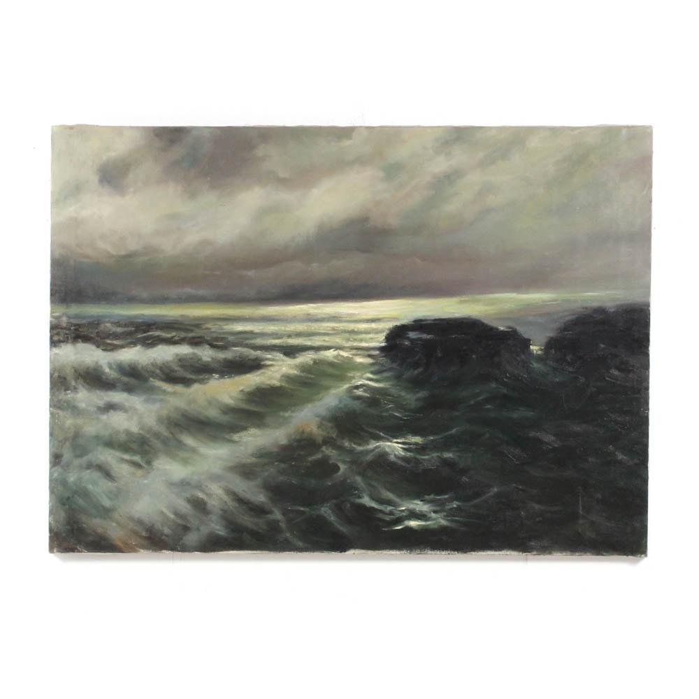 Vintage Oil on Canvas Seascape Painting
