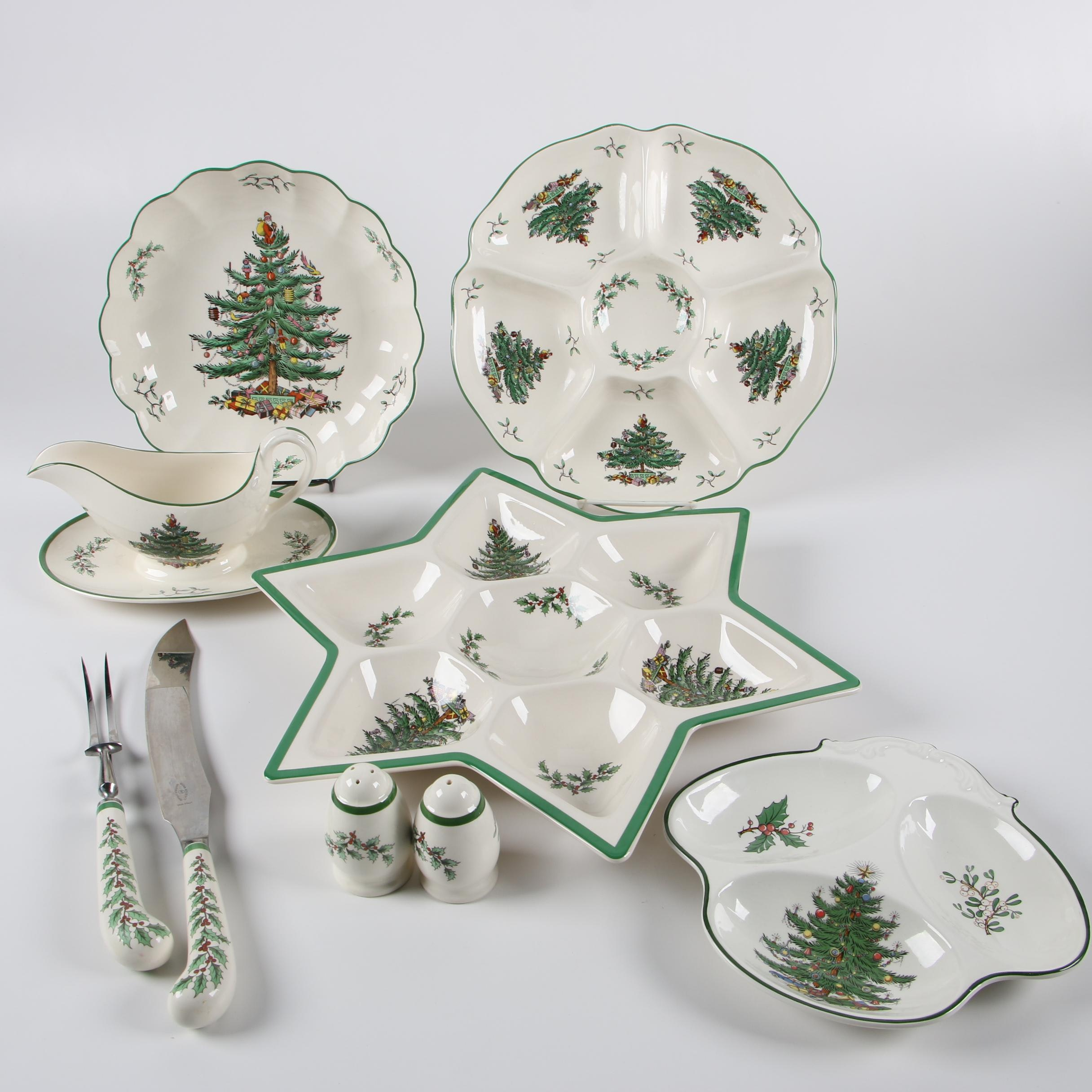 """Spode """"Christmas Tree"""" Ceramic Servingware with Barrington Ironstone"""