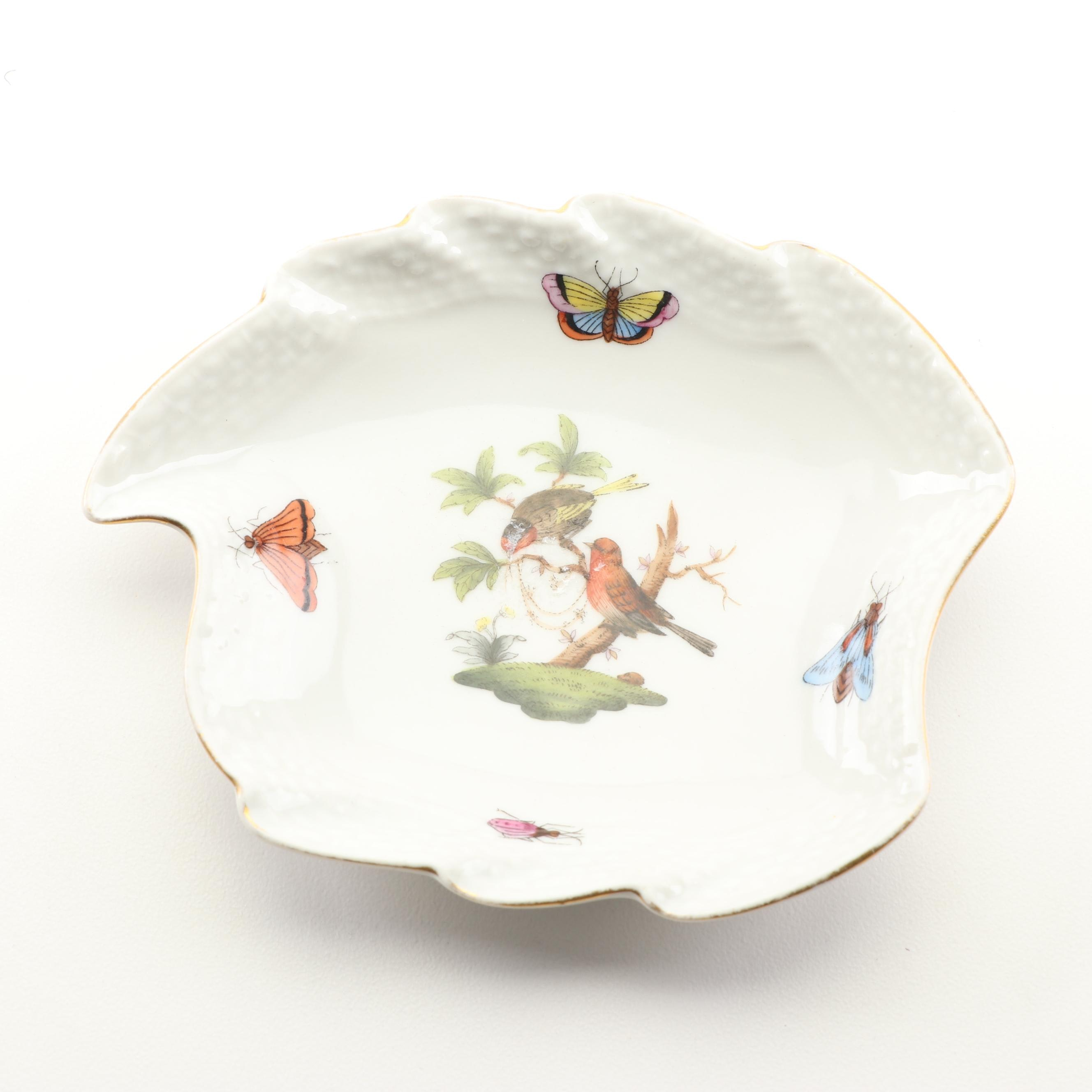 "Herend ""Rothschild Bird"" Leaf Dish"