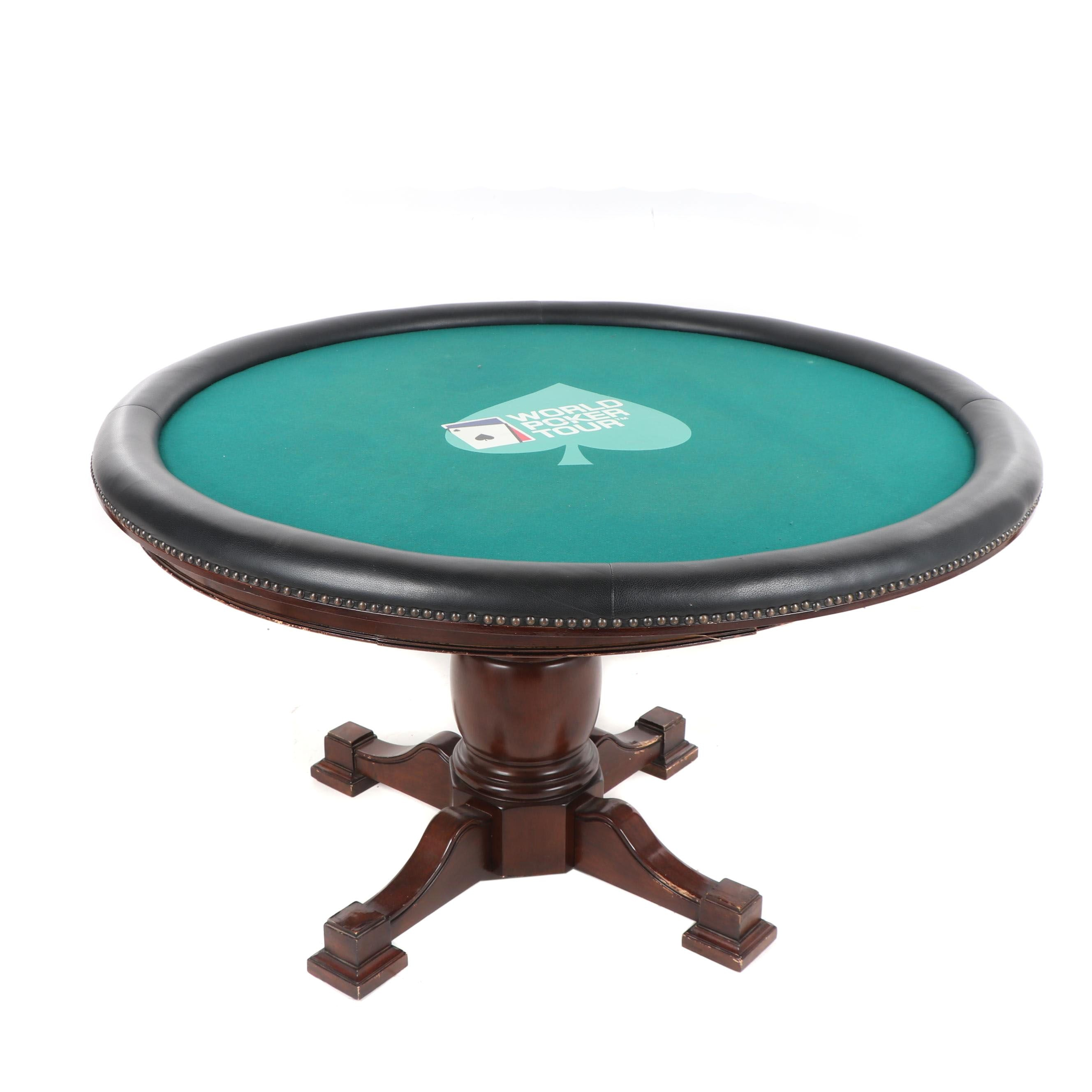 "Mahogany Circular Game Table with ""World Poker Tour"" Felt Top Panel, 21st C."
