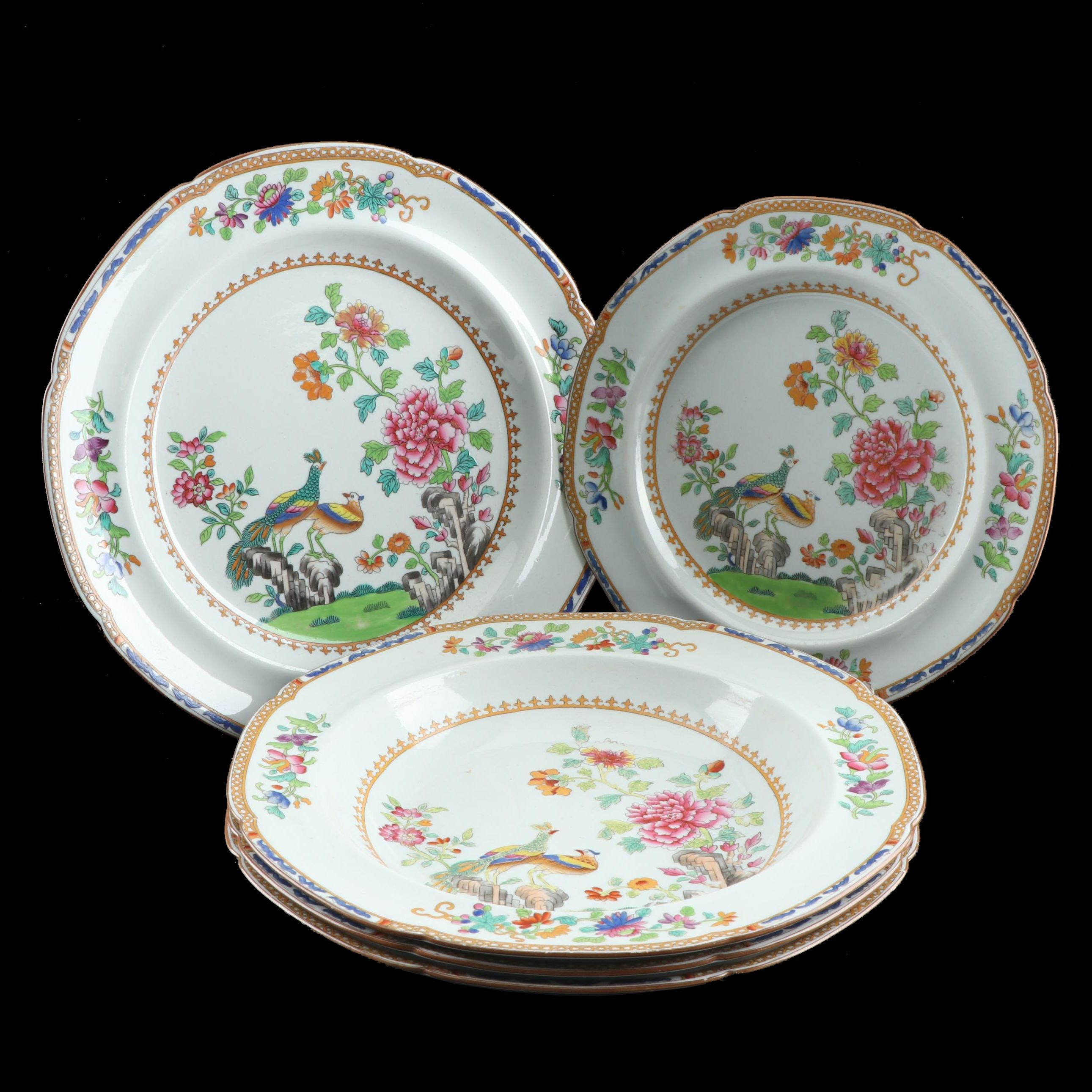 "Copeland Spode ""Peacock"" Hand Colored Stone China Plates and Soup Bowls"