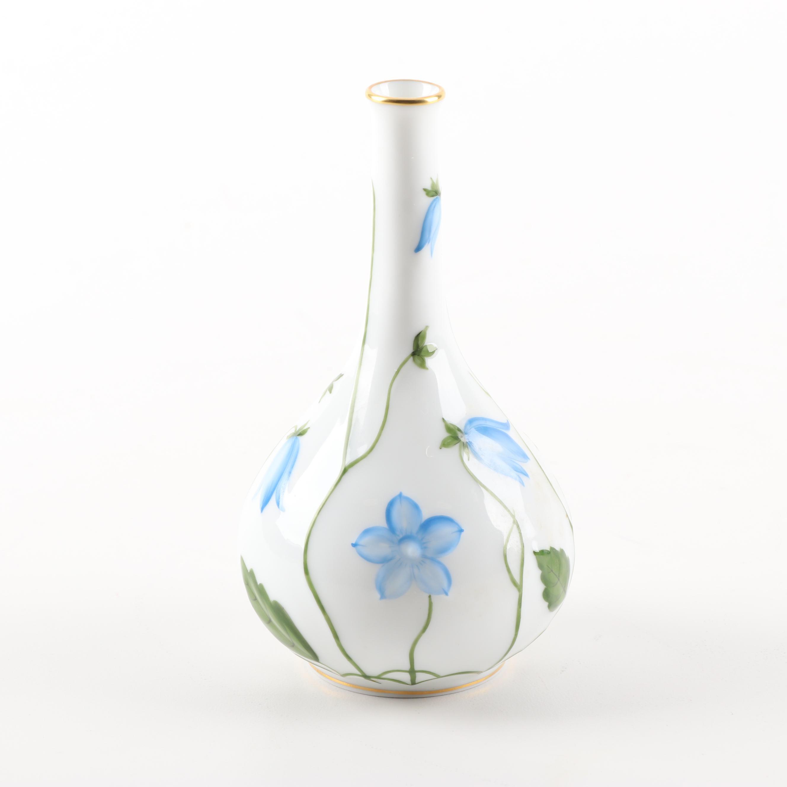 Herend Hand-Painted Blue Floral Bud Vase
