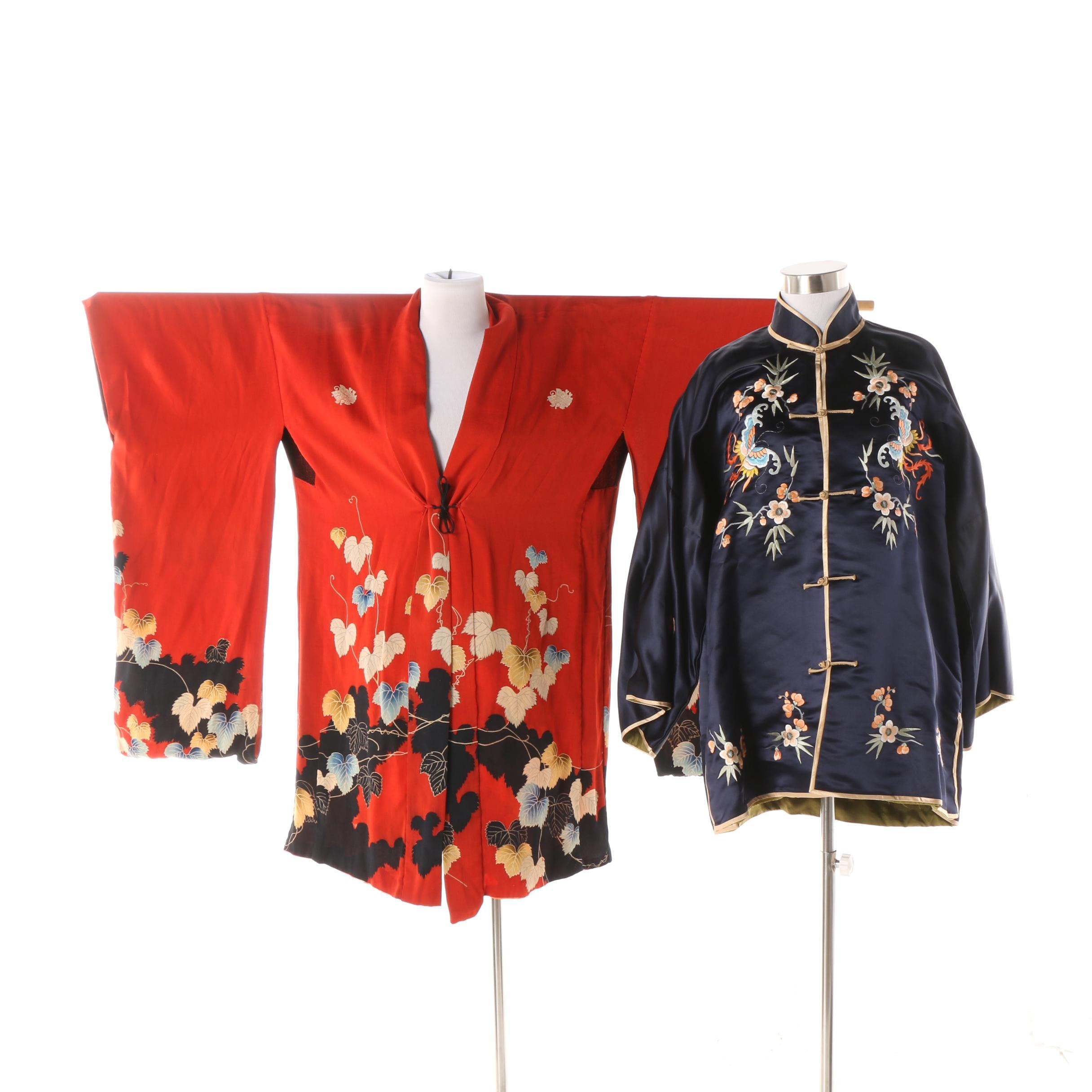 Japanese Handwoven Silk Haori Jacket and Chinese Embroidered Tangzhuang Jacket