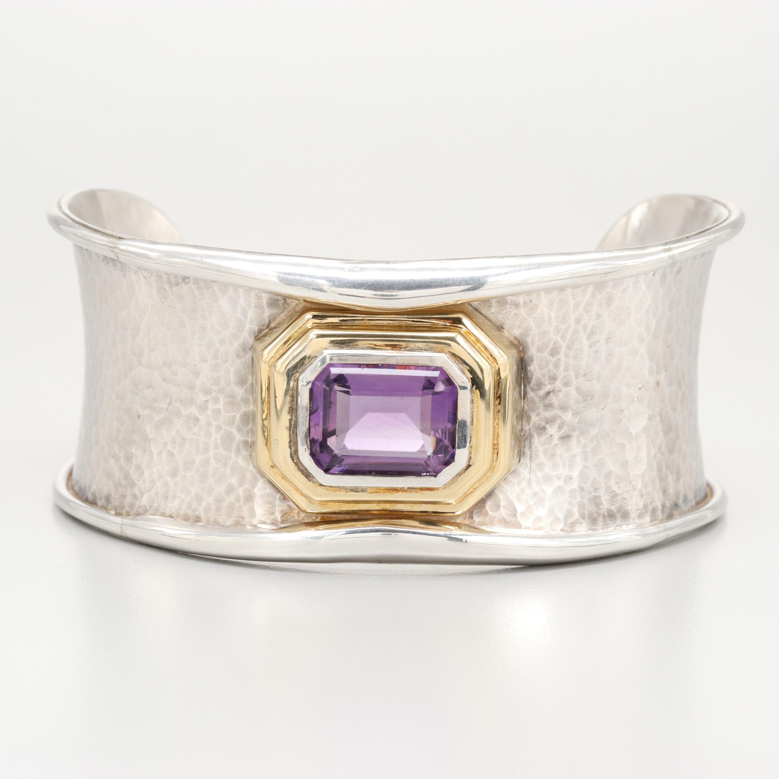 Italian Sterling Silver 8.22 CT Amethyst Cuff Bracelet with 18K Gold Accents