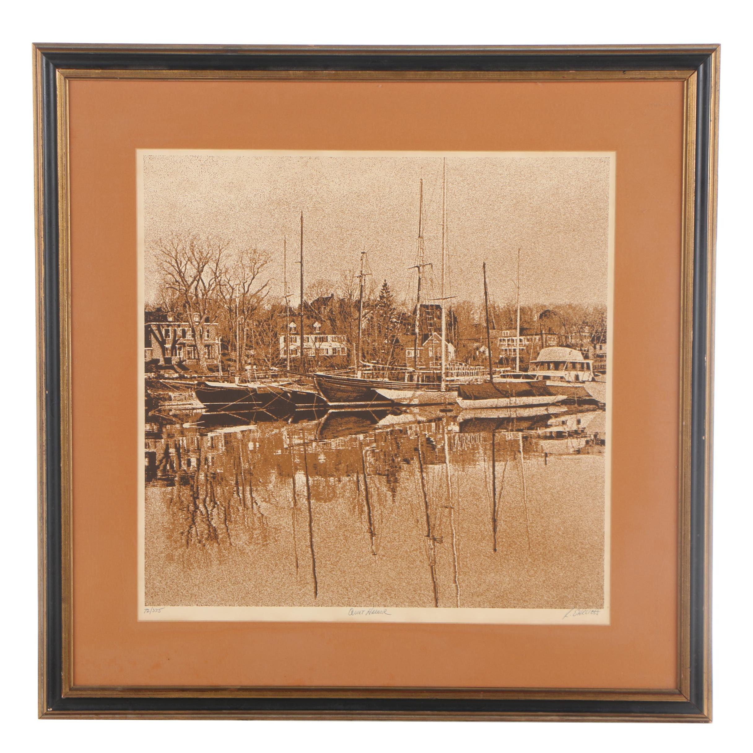 "R. Ehrlich Limited Edition Serigraph ""Quiet Harbor"""