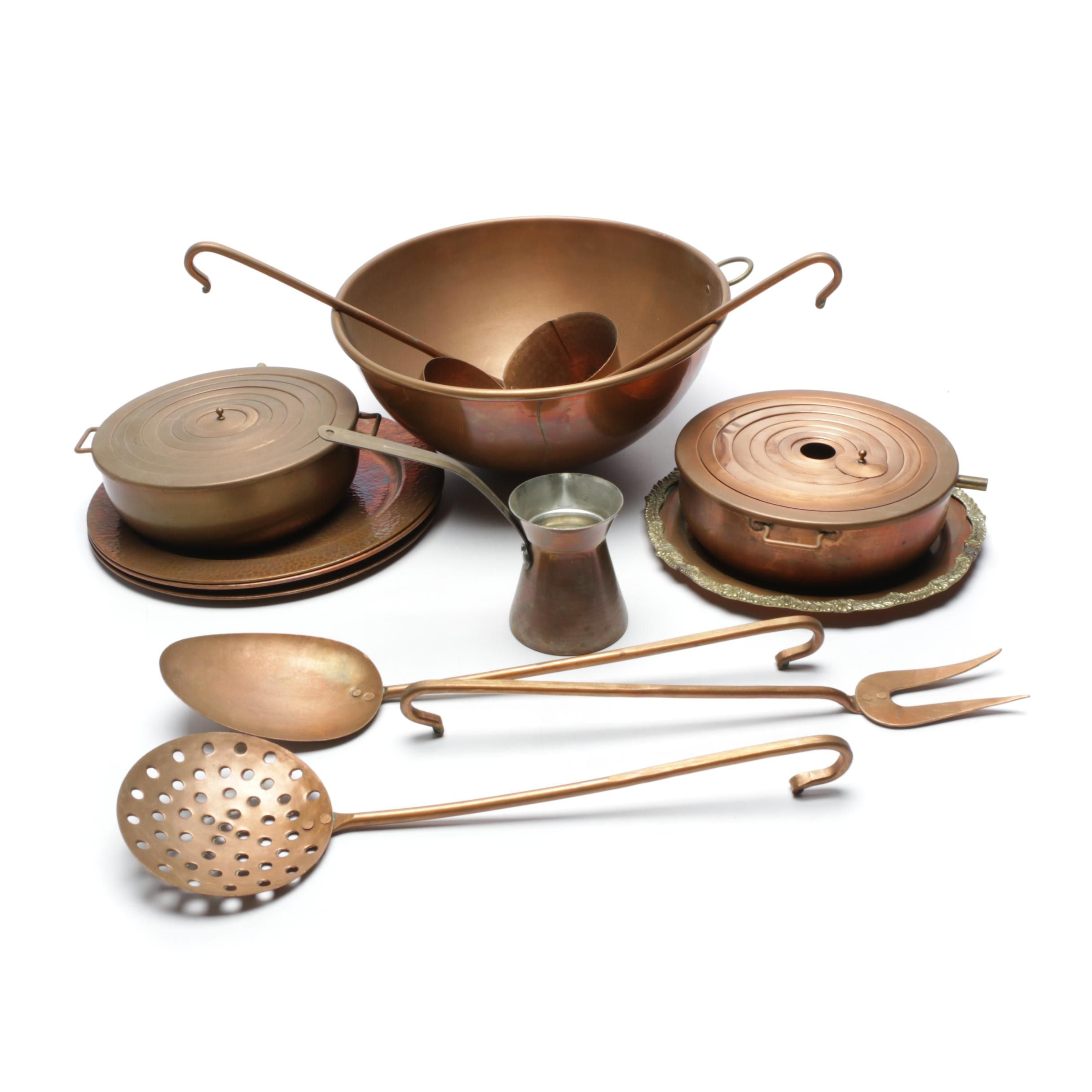 Assortment of Copper Cookware and Tableware