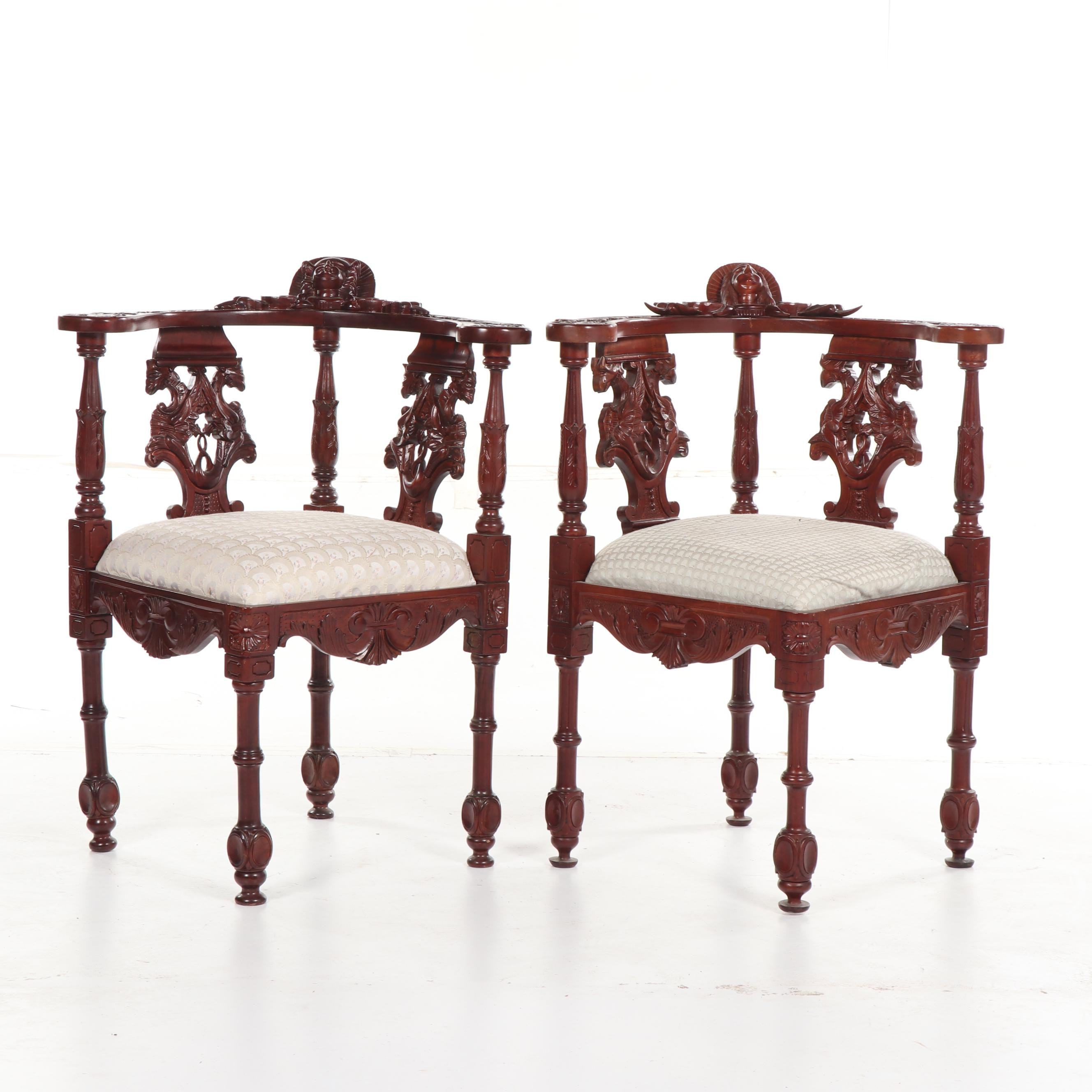 Contemporary Heavily Carved Wood Corner Chairs, 20th Century
