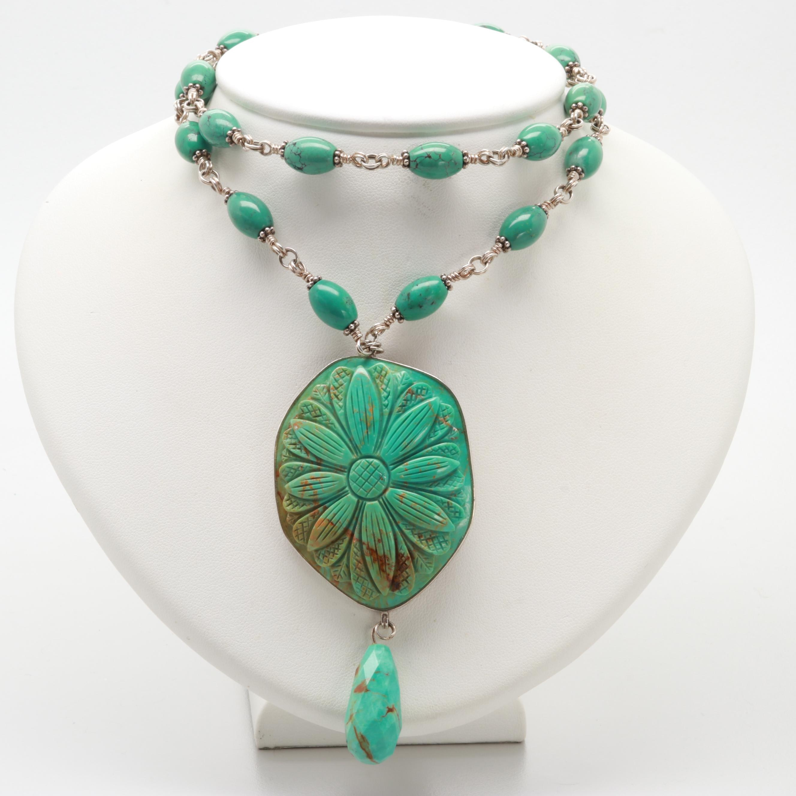 Stephen Dweck Stering Silver Double Strand Turquoise Necklace