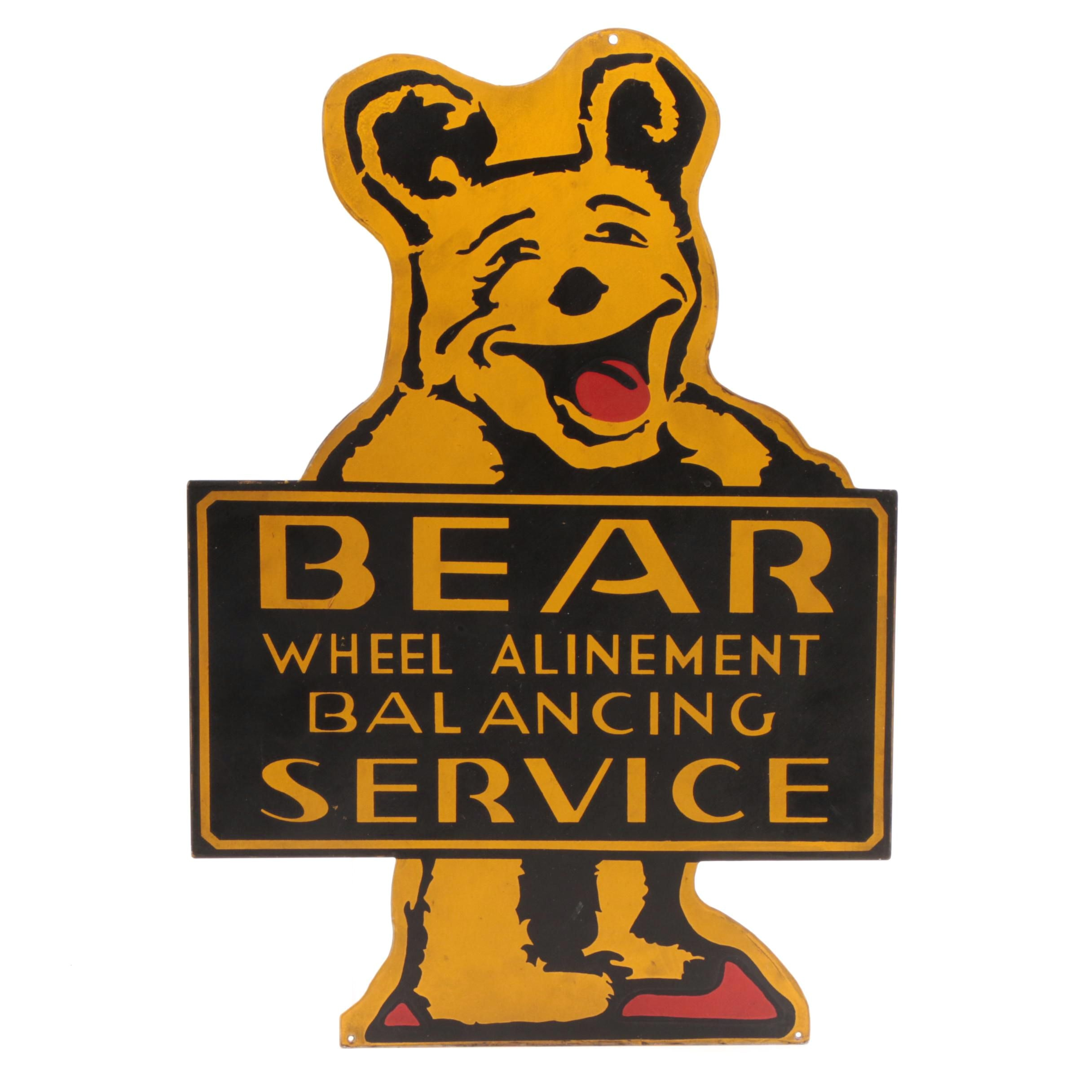 1950s-1960s Porcelain Bear Wheel Alignment Sign