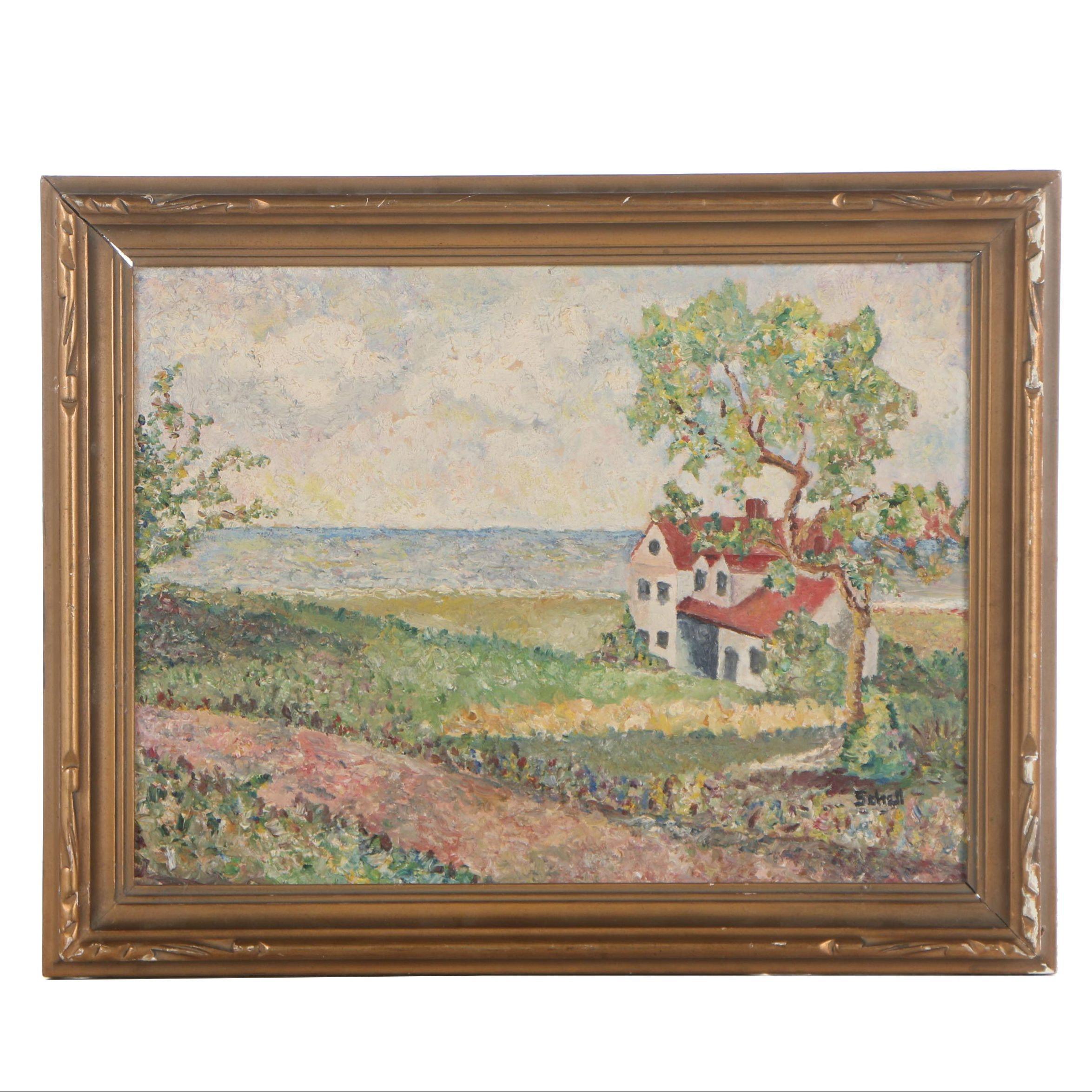 Schell Pastoral Landscape Oil Painting