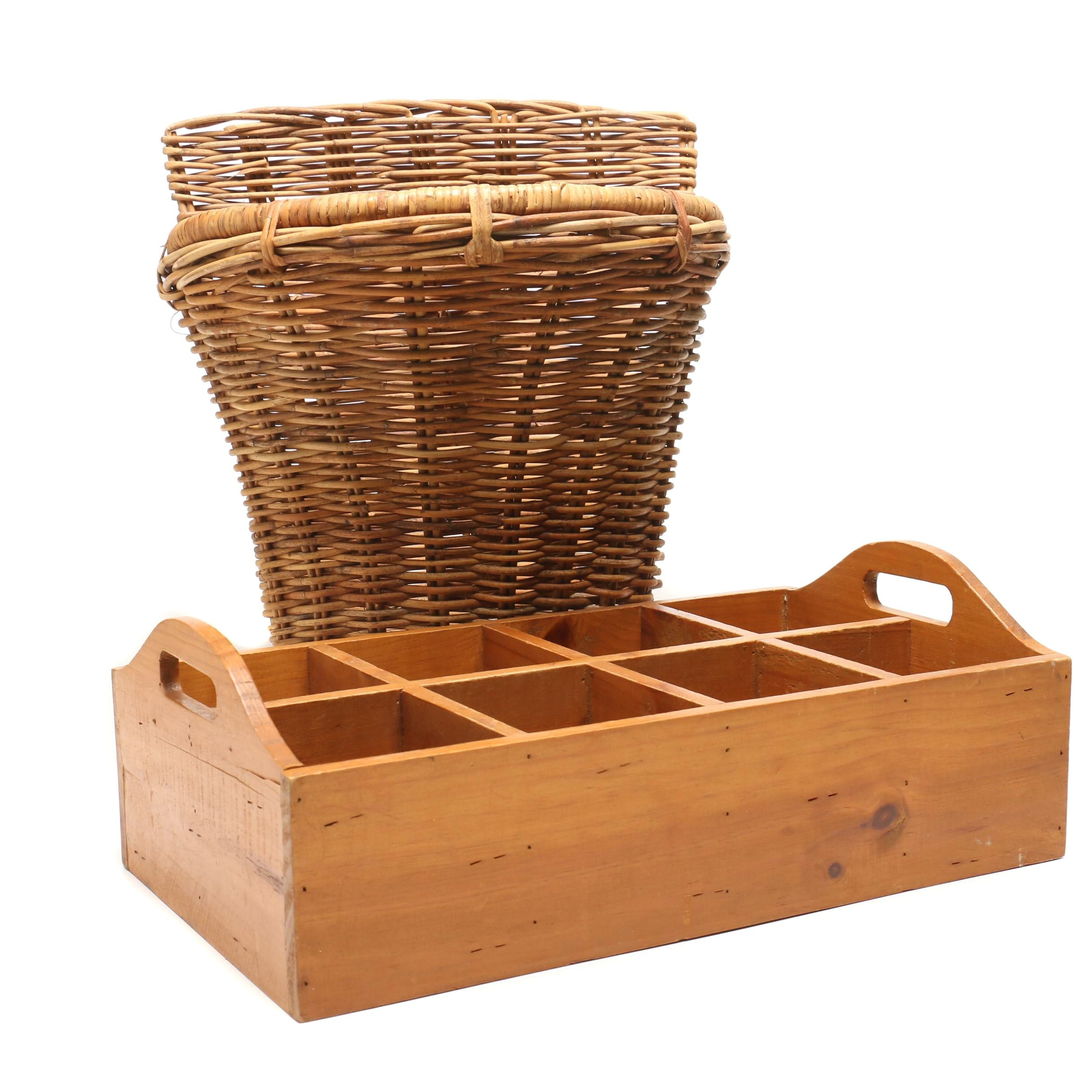 Wall Mount Decorative Basket and Wooden Divided Tray with Handles