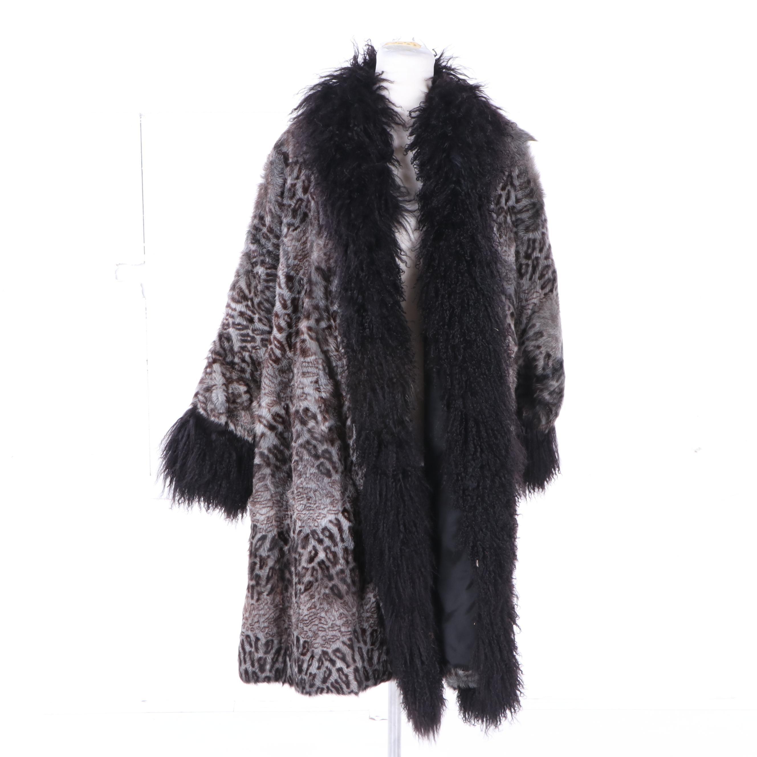 Neiman Marcus Printed Fox Fur Swing Coat with Mongolian Lamb Trim