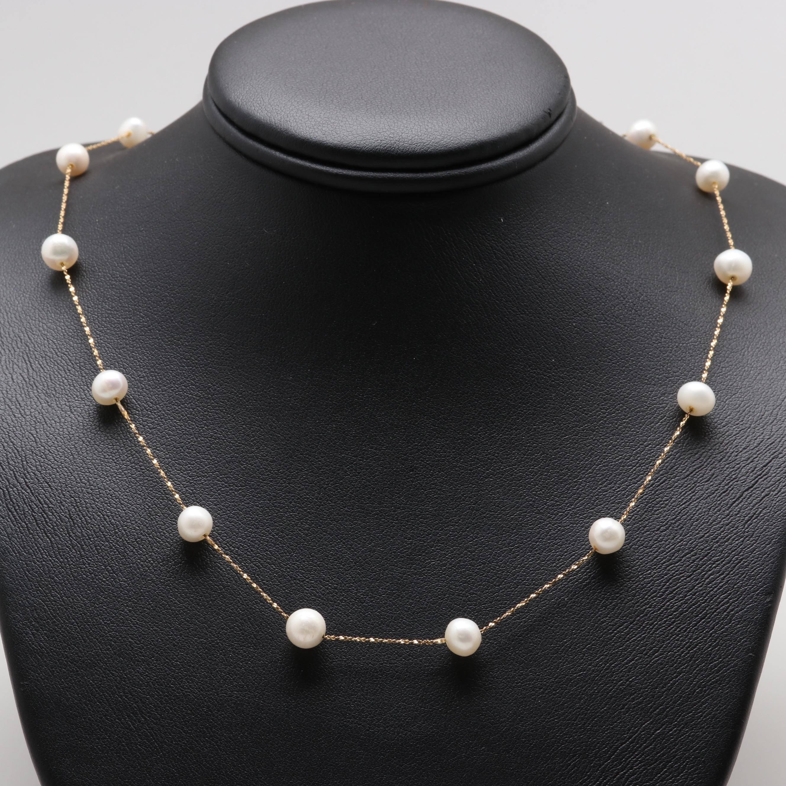 Italian 14K Yellow Gold Cultured Pearl Station Necklace