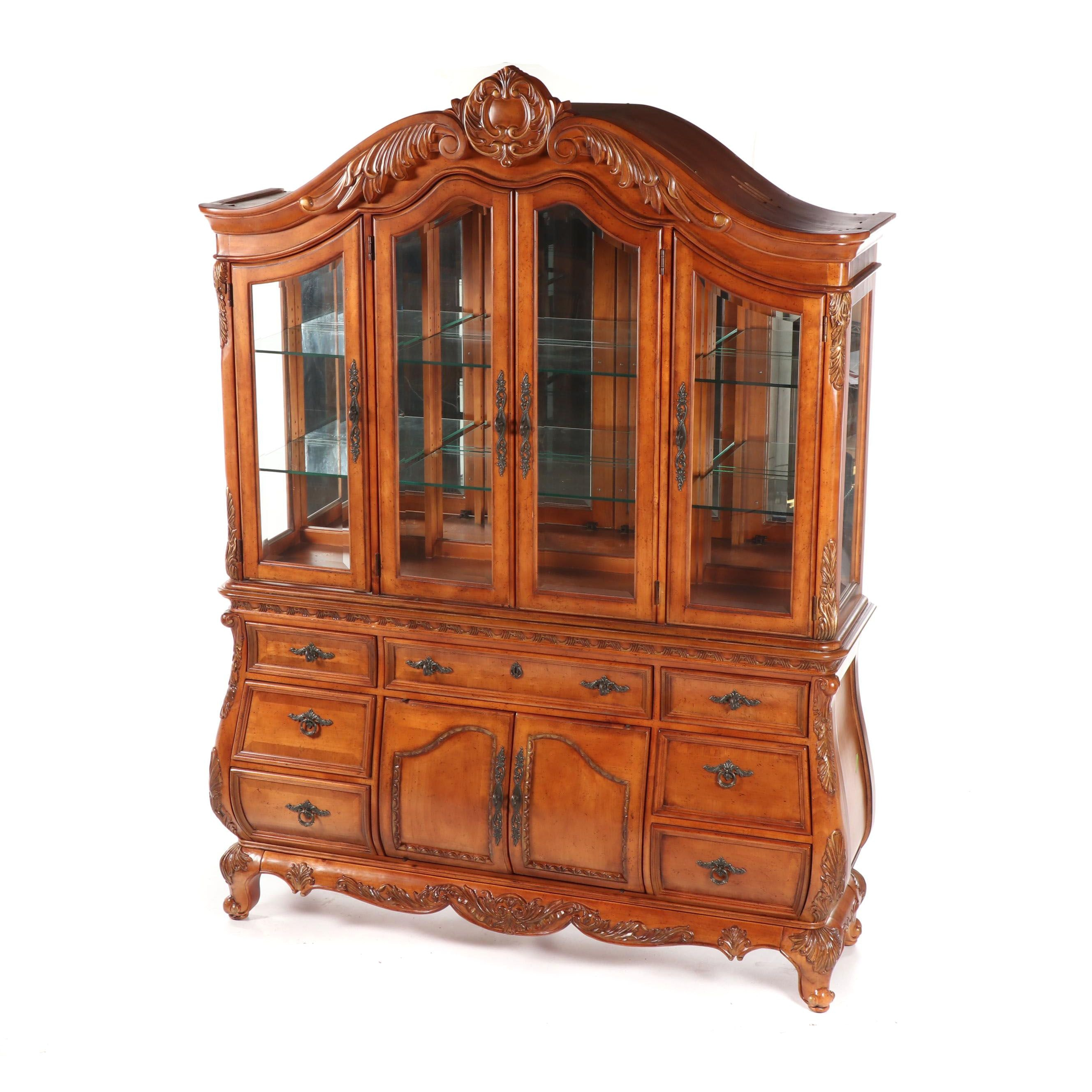 French Style Walnut China Cabinet by Bachman Furniture, 21st Century