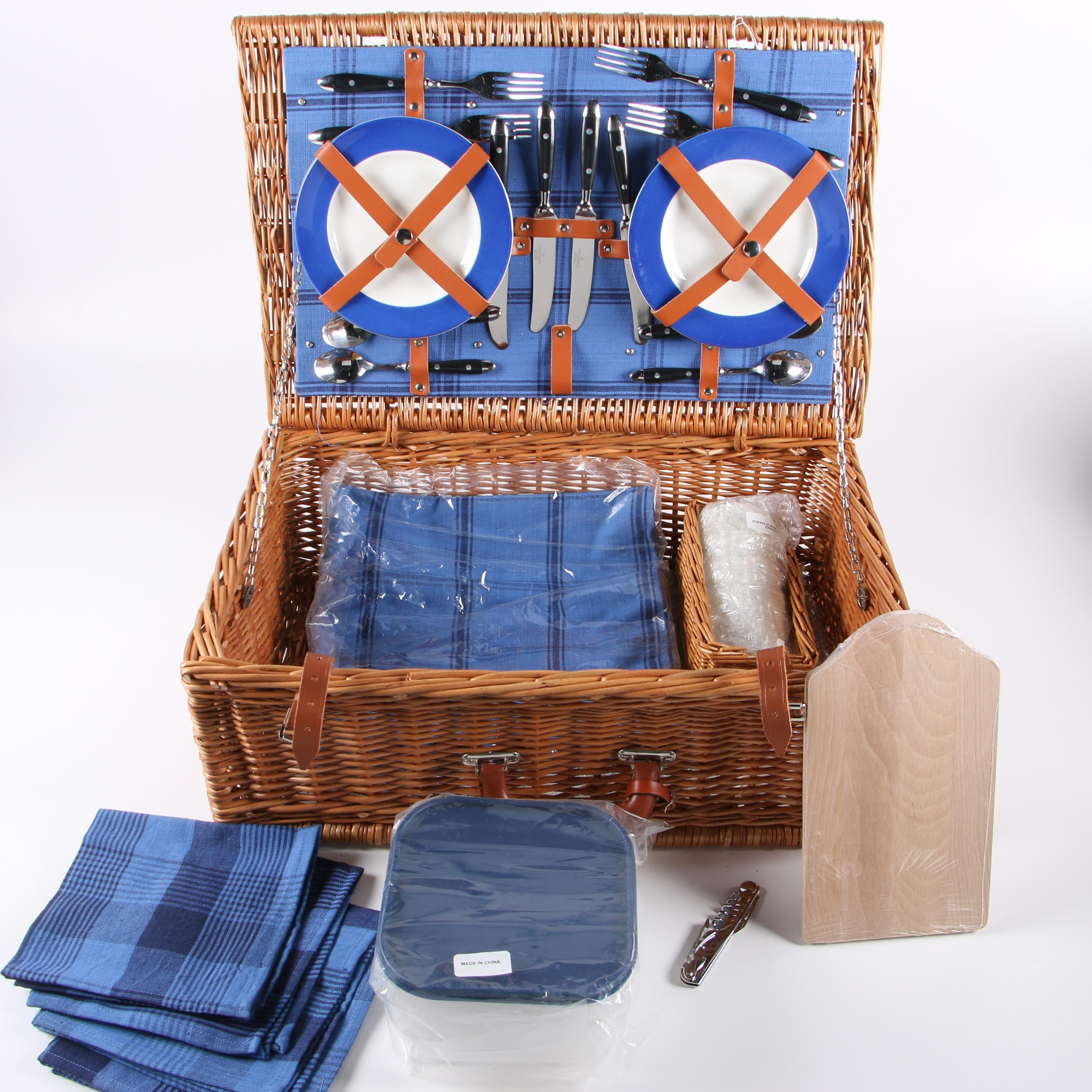 "Williams-Sonoma ""Grand Cuisine"" Wicker Weave Picnic Basket with Service for Four"