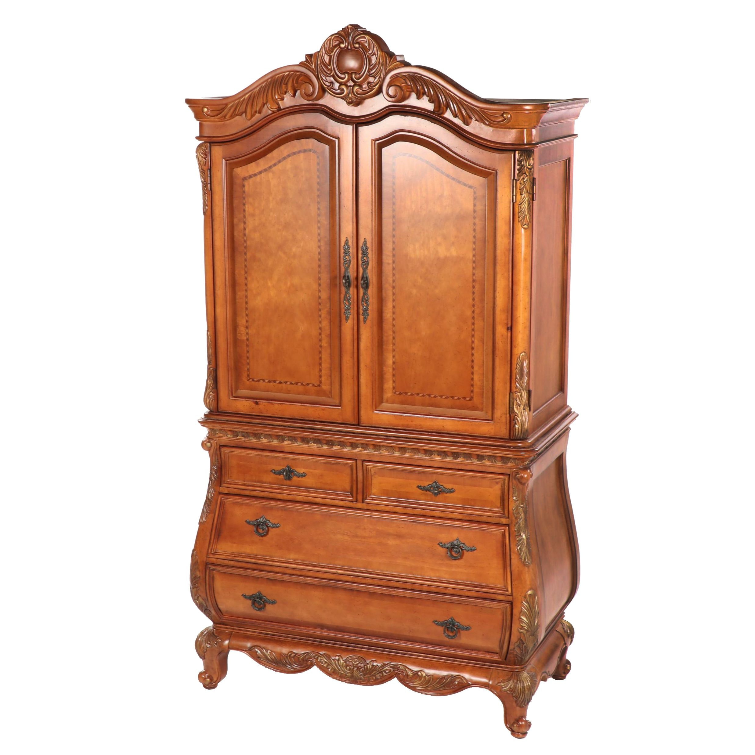 French Style Walnut Armoire by Bachman Furniture, 21st Century