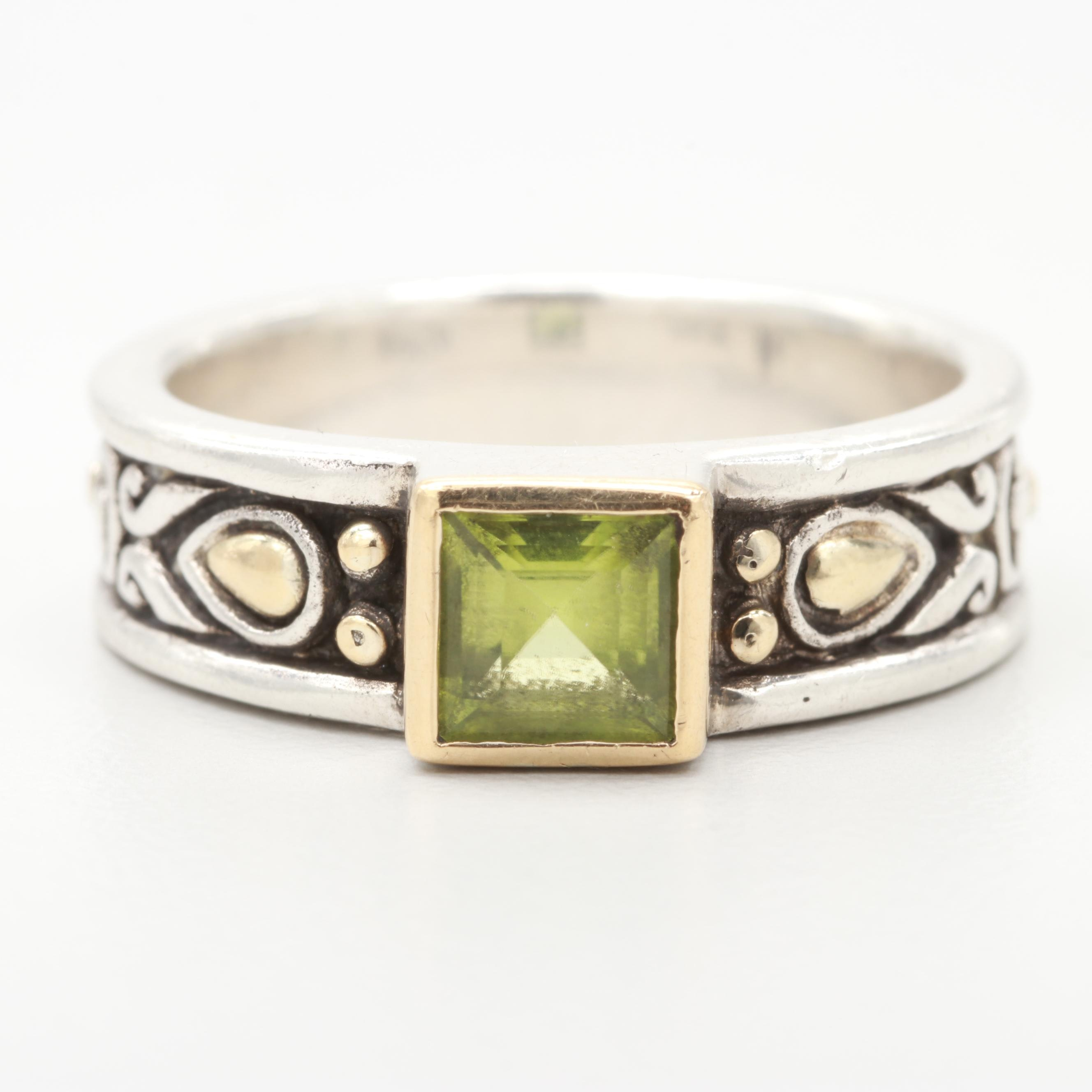 John Hardy Sterling Silver Peridot Ring with 18K Yellow Gold Accent