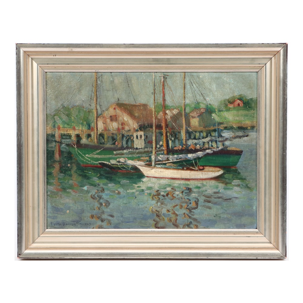 Edith Briscoe Stevens Harbor Scene Oil Painting