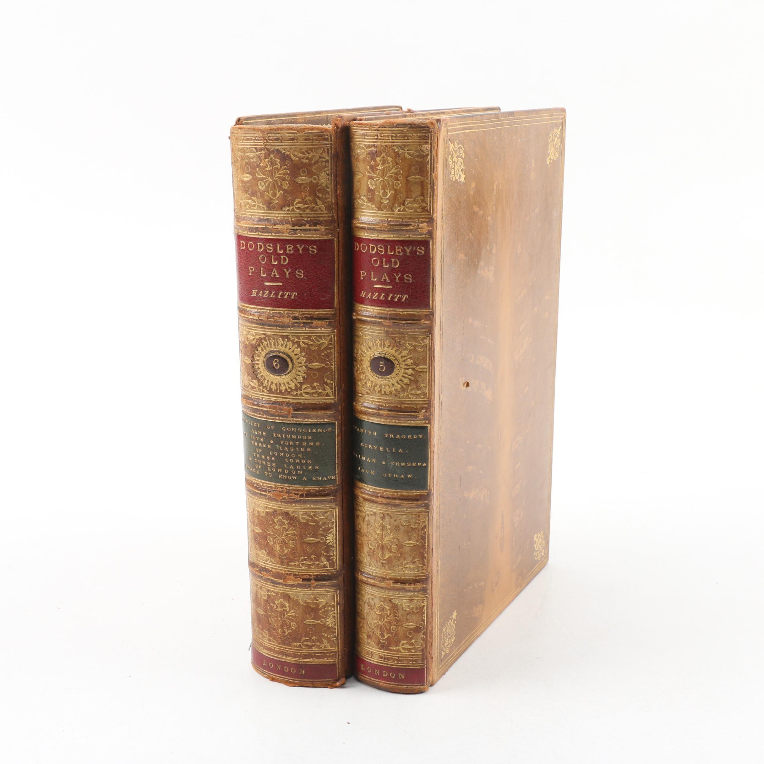 "1874 ""Old English Plays"" Vols. V and VI by W. Carew Hazlitt"