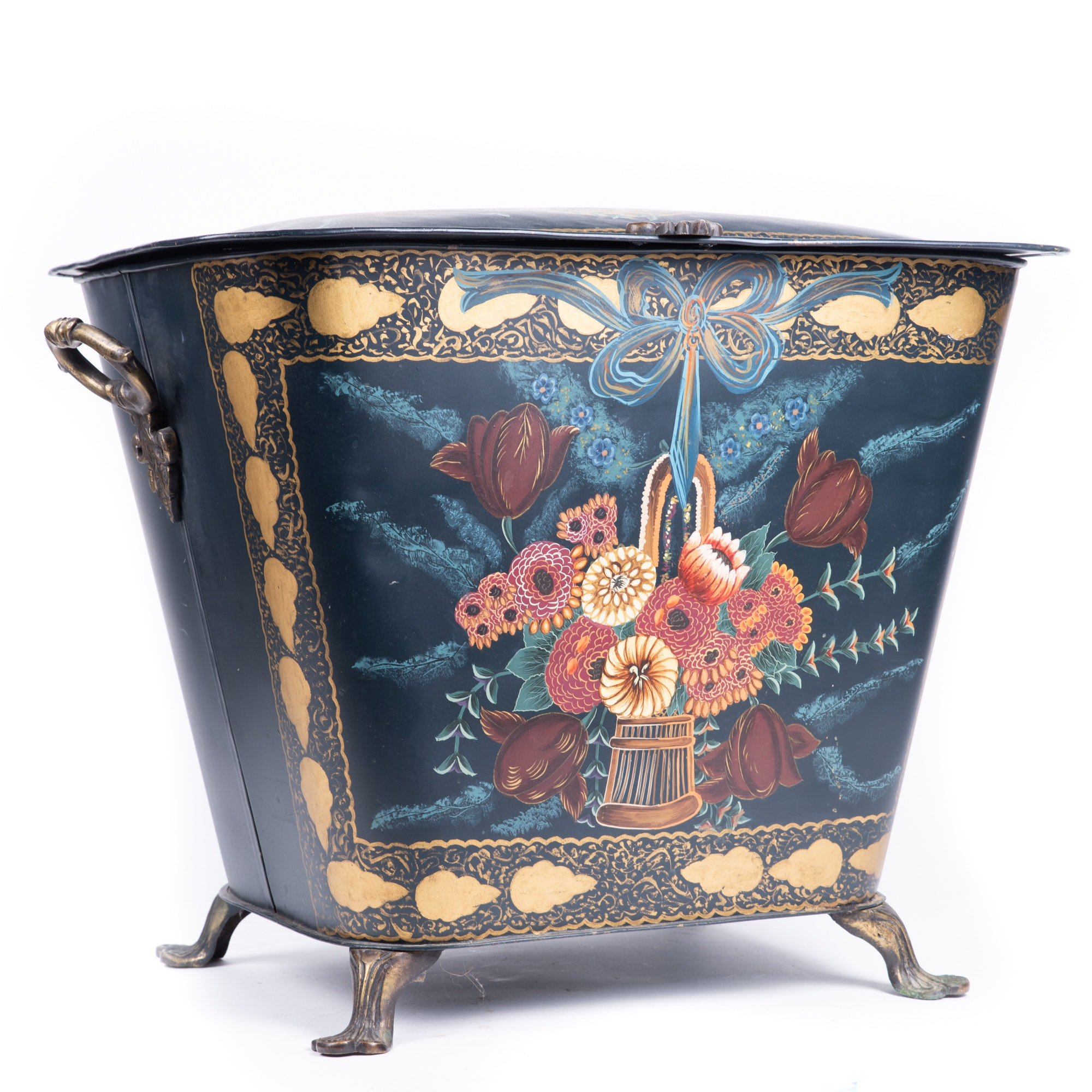 Hand-Painted Metal Fireplace Scuttle