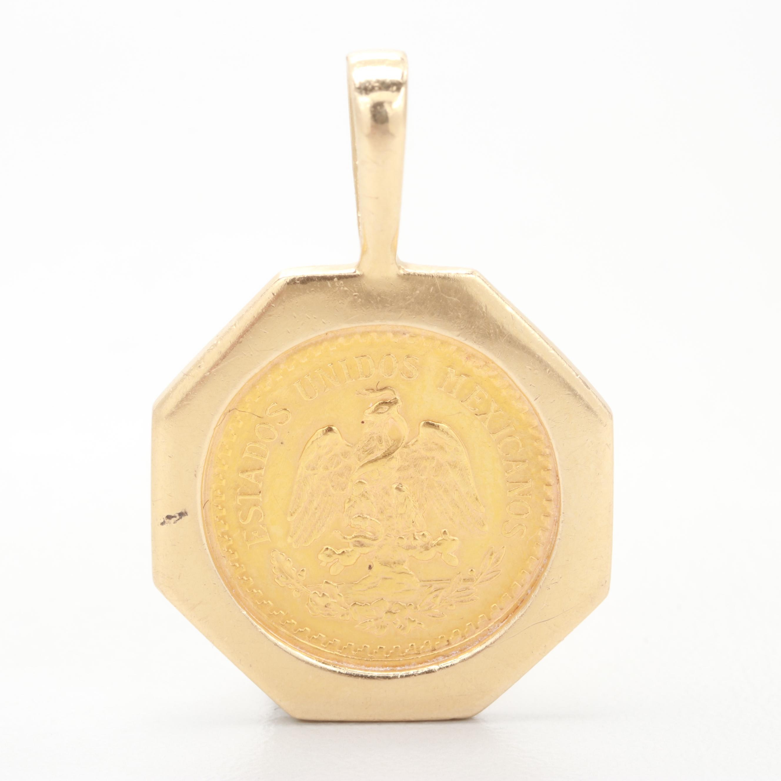 14K Yellow Gold Pendant with 1945 Mexican Dos Y Medios Pesos Gold Coin