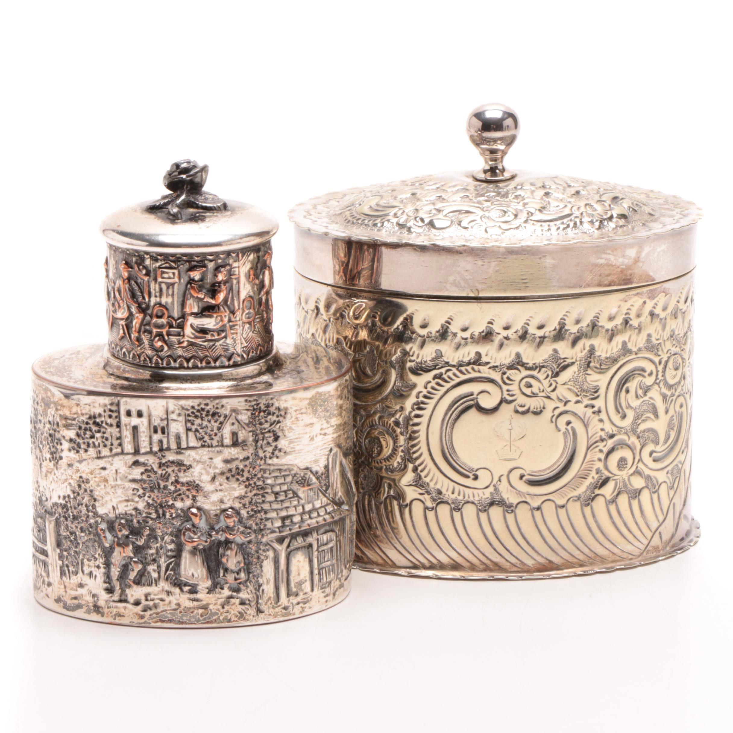 Embossed Antique Silver Plate Tea Caddies