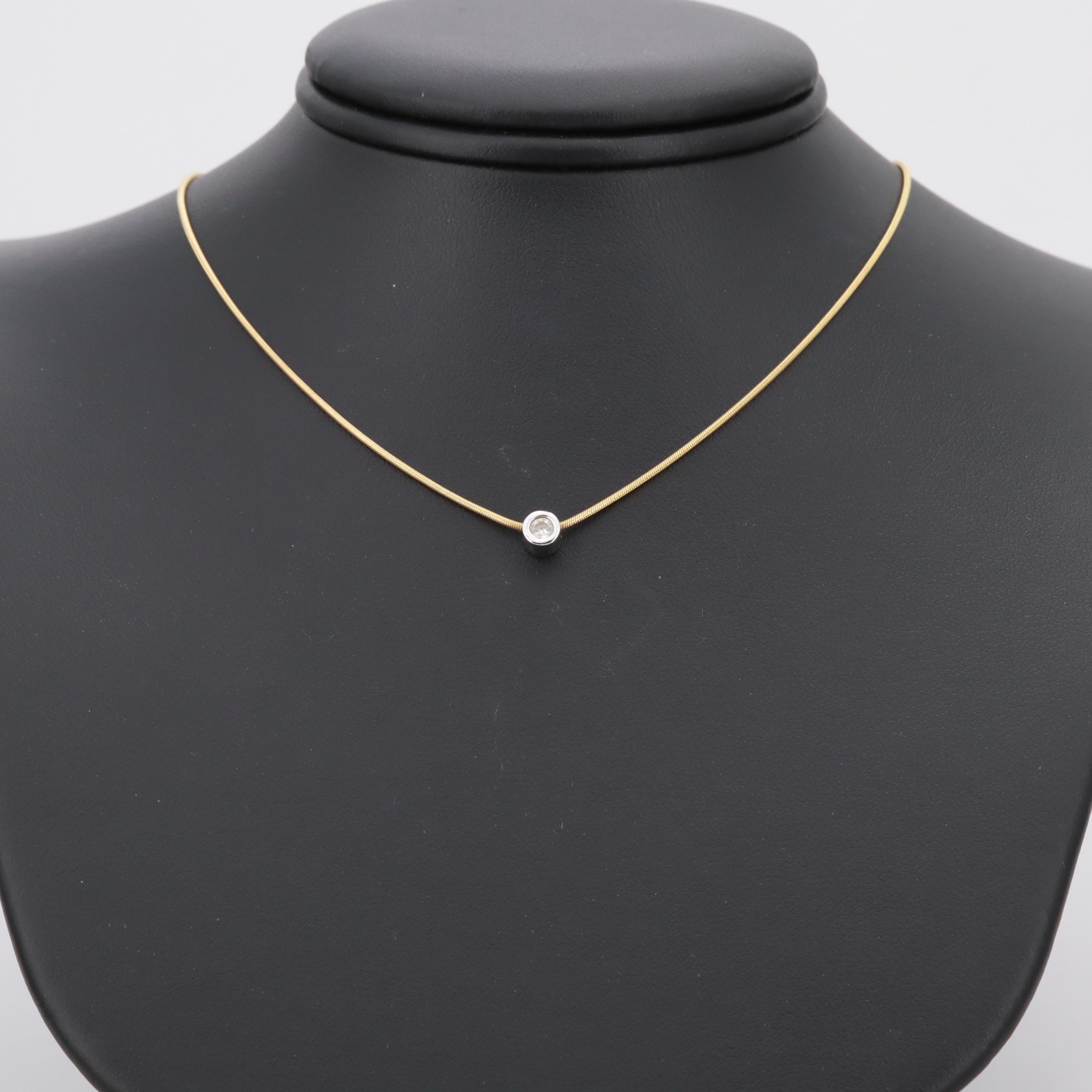 14K White and Yellow Gold Bezel Set Diamond Necklace