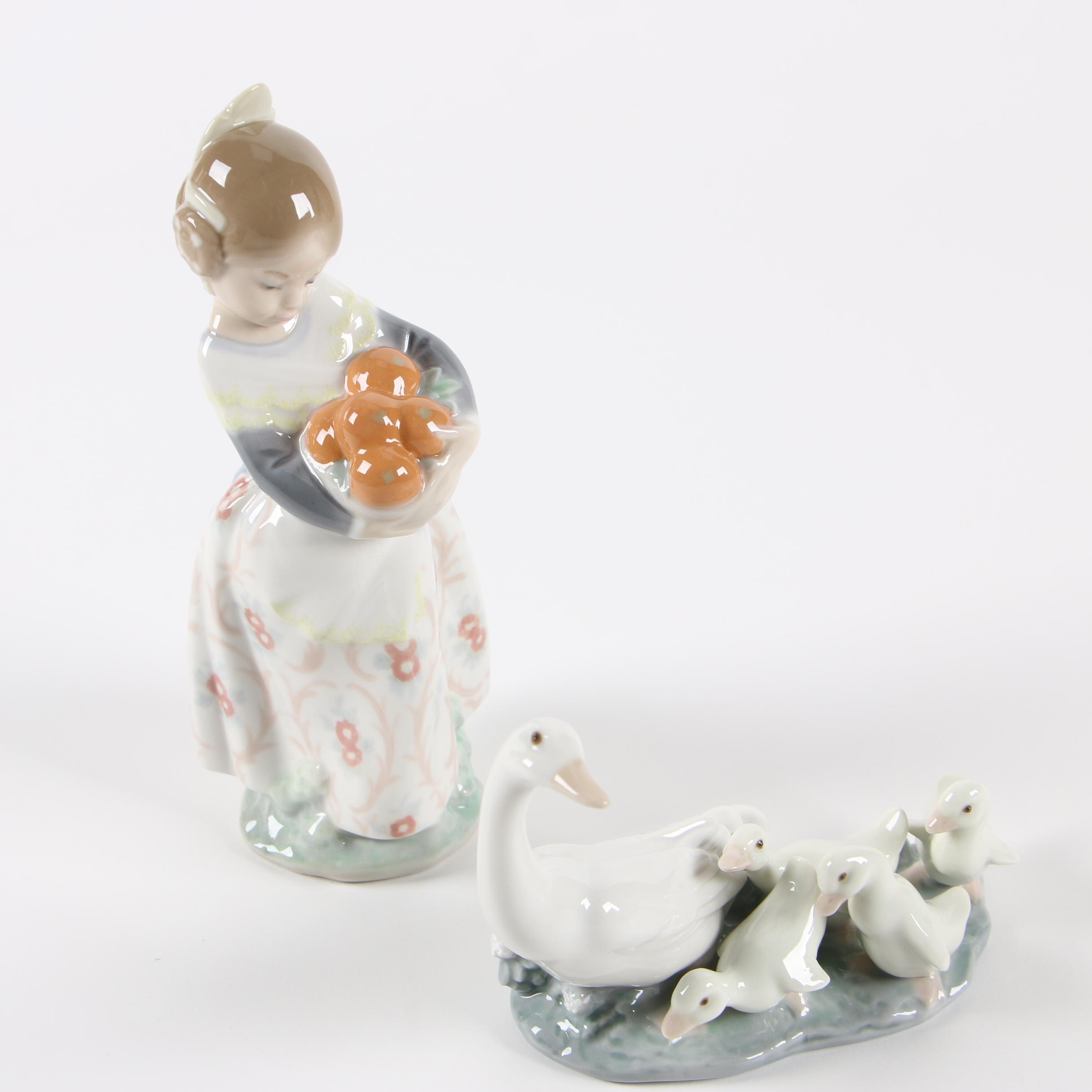 "Lladró ""Valencian Girl"" and ""Little Ducks After Mother"" Porcelain Figurines"