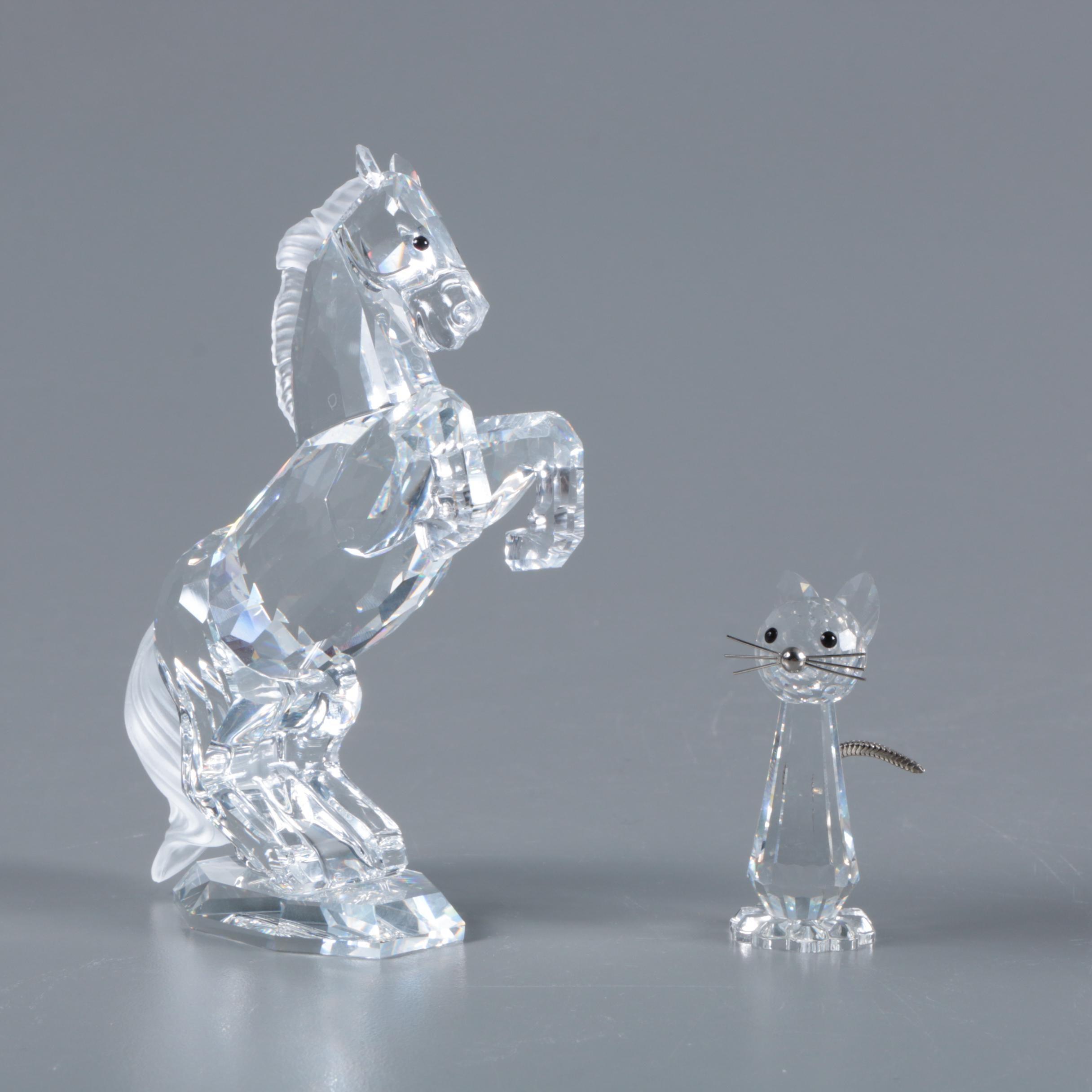 "Swarovski Crystal ""Stallion"" and ""Tall Cat"" Figurines"