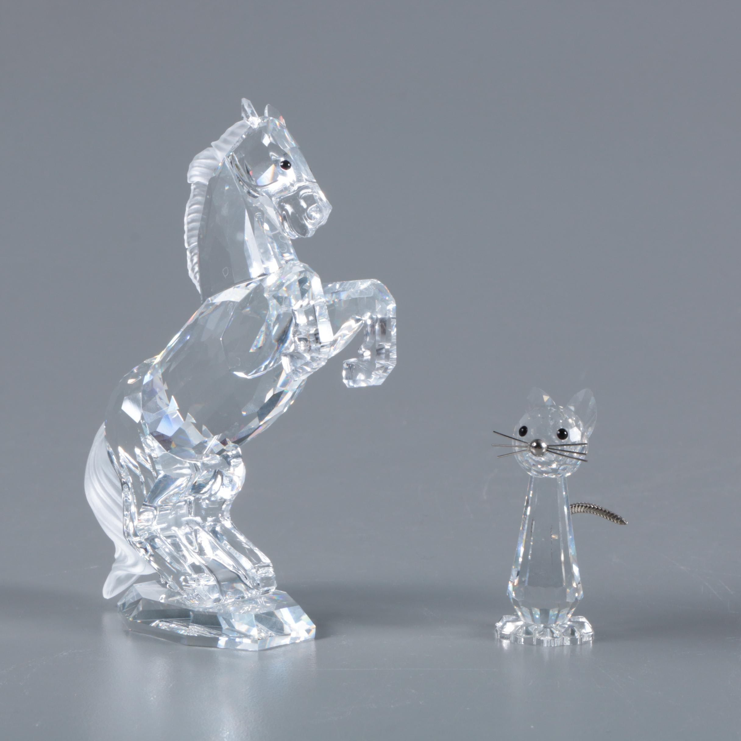 "Swarovski Crystal ""Stallion"" and ""Tall Cat"" Figurines"