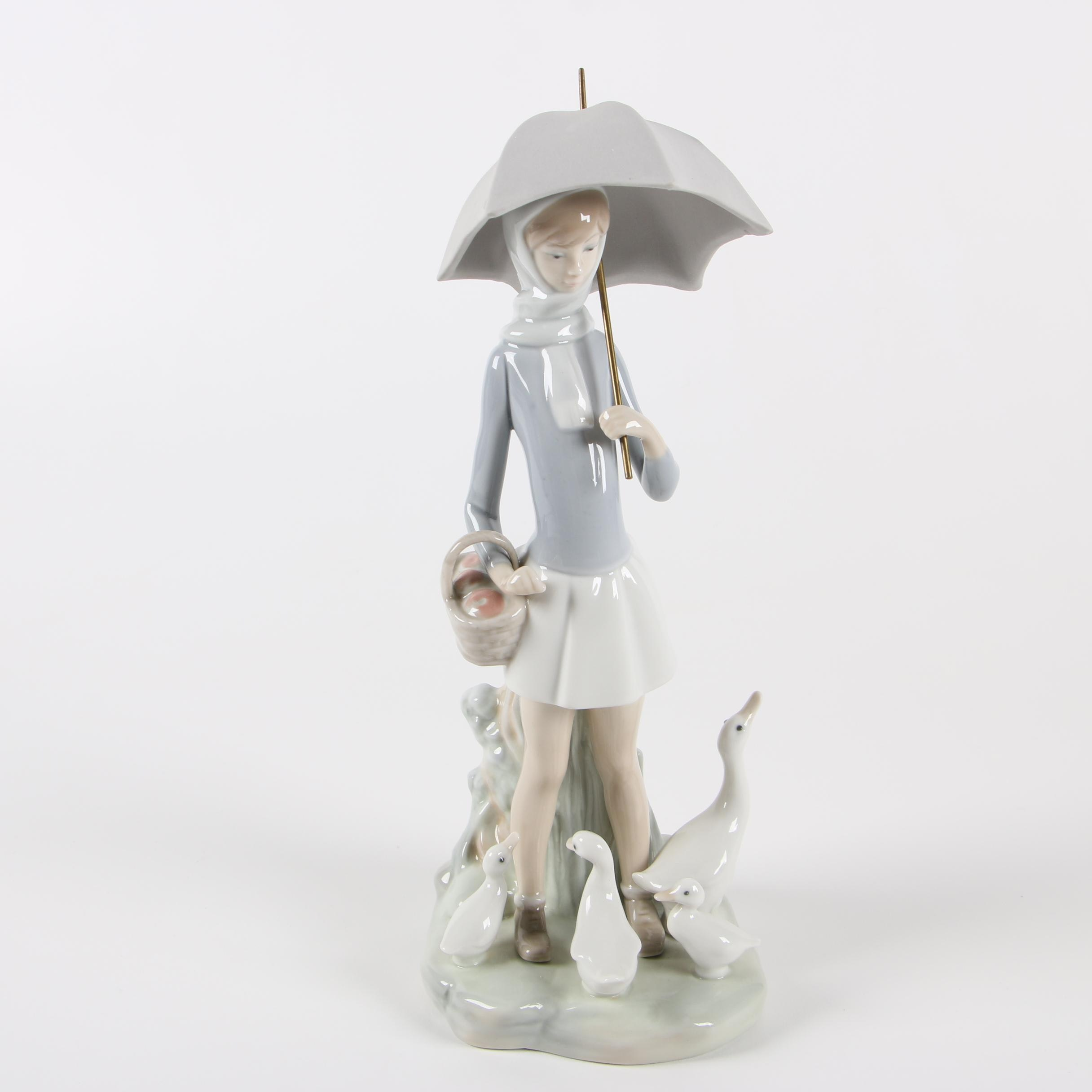 "Lladró ""Girl with Umbrella"" Porcelain Figurine"