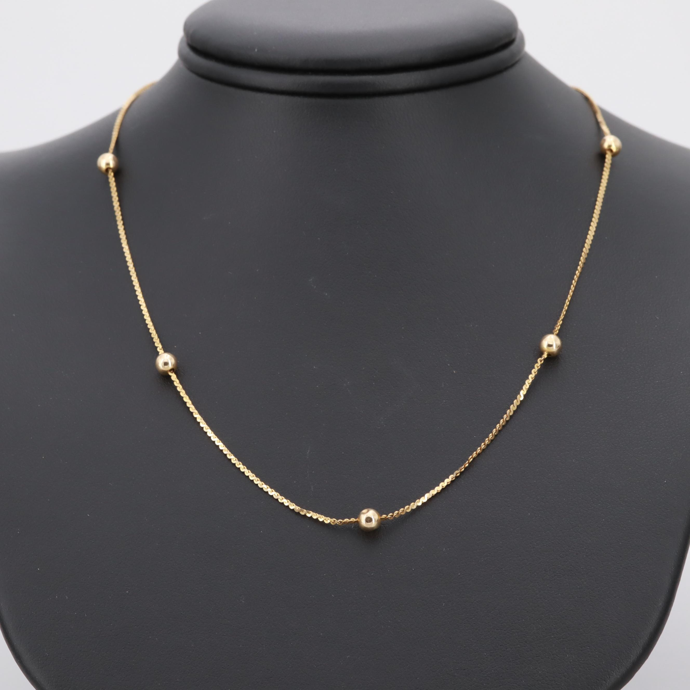 14K Yellow Gold Serpentine and Spherical Station Chain Necklace
