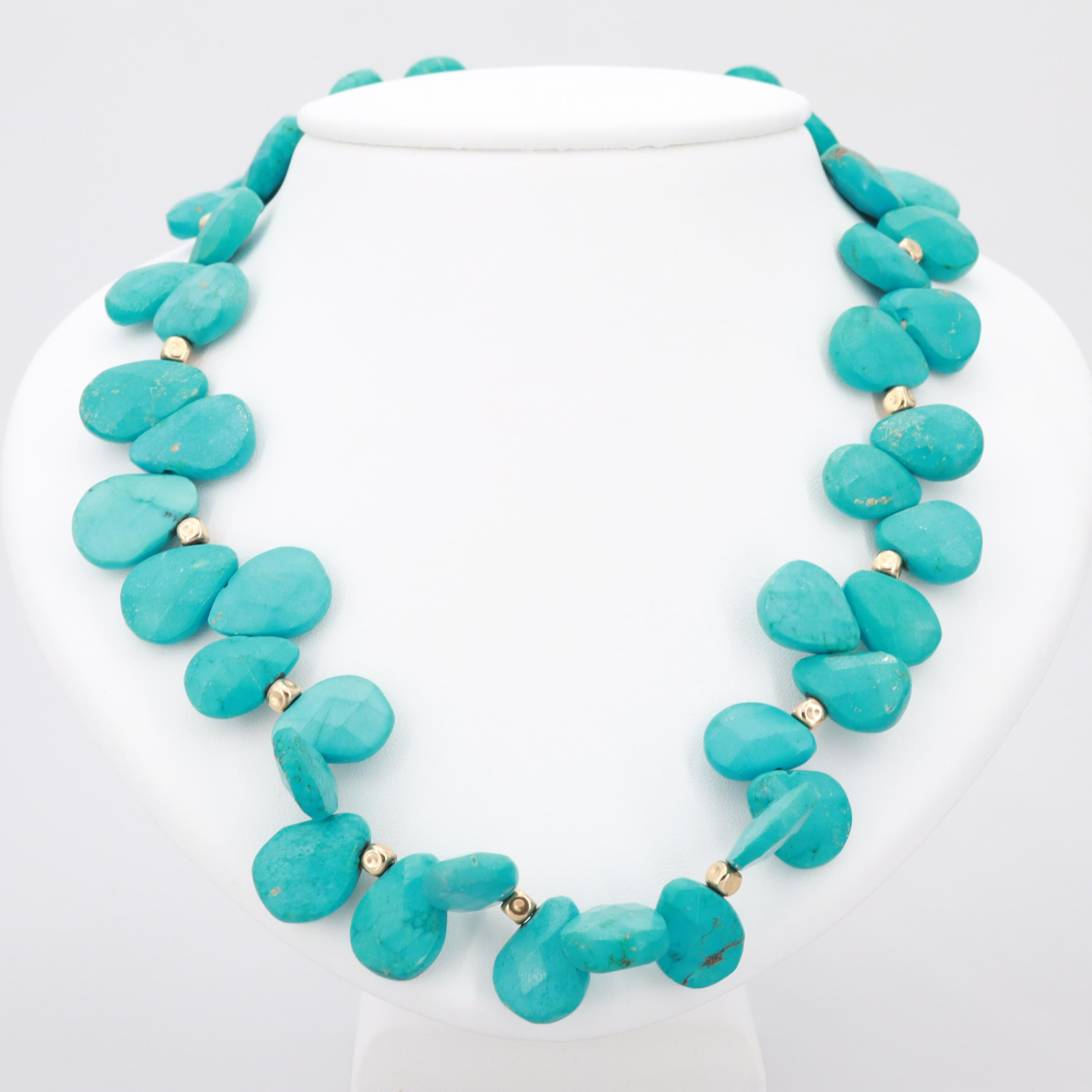 14K Yellow Gold Magnesite Necklace with Toggle Closure
